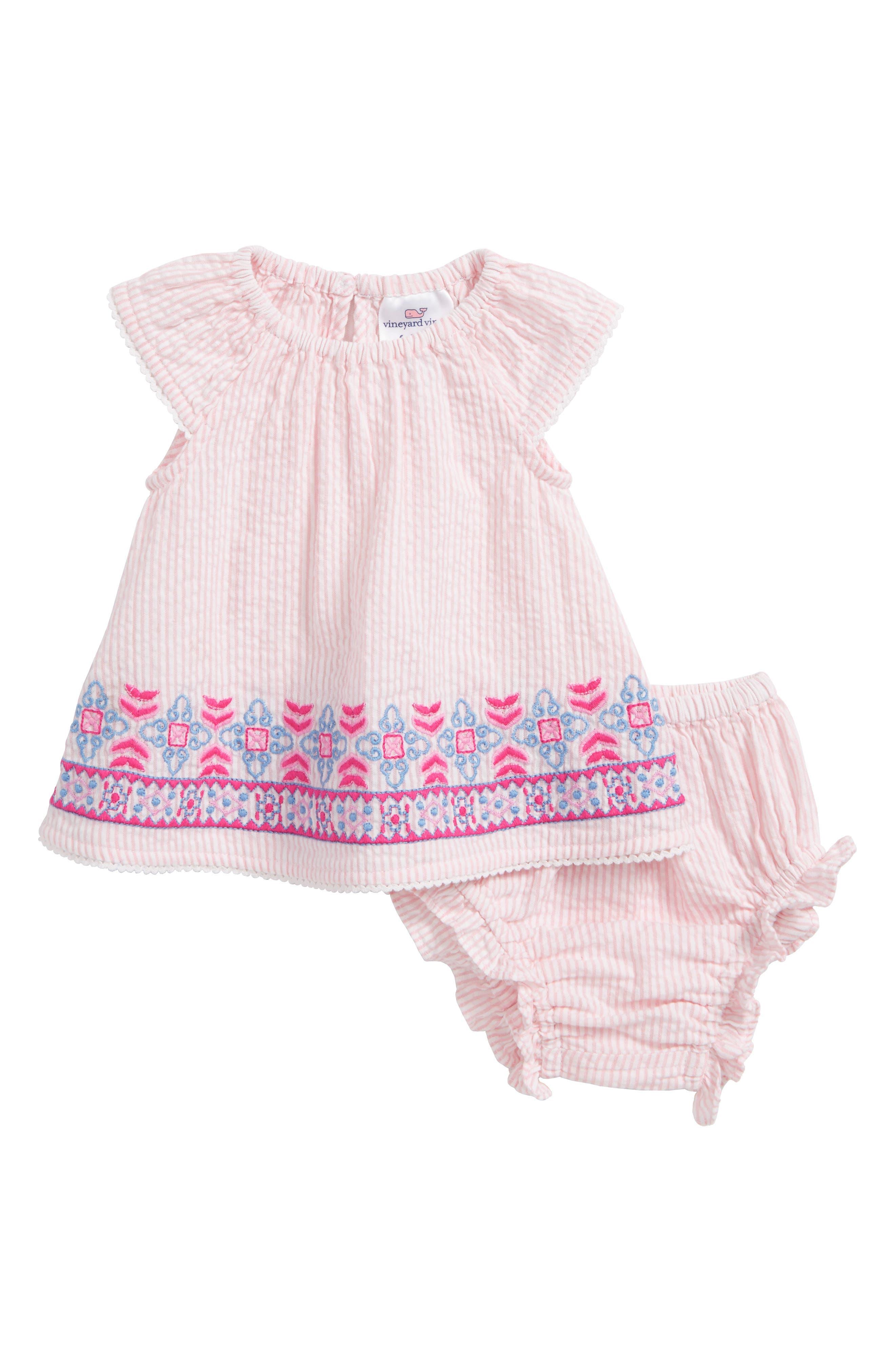 Embroidered Seersucker Swing Dress,                         Main,                         color, Flamingo