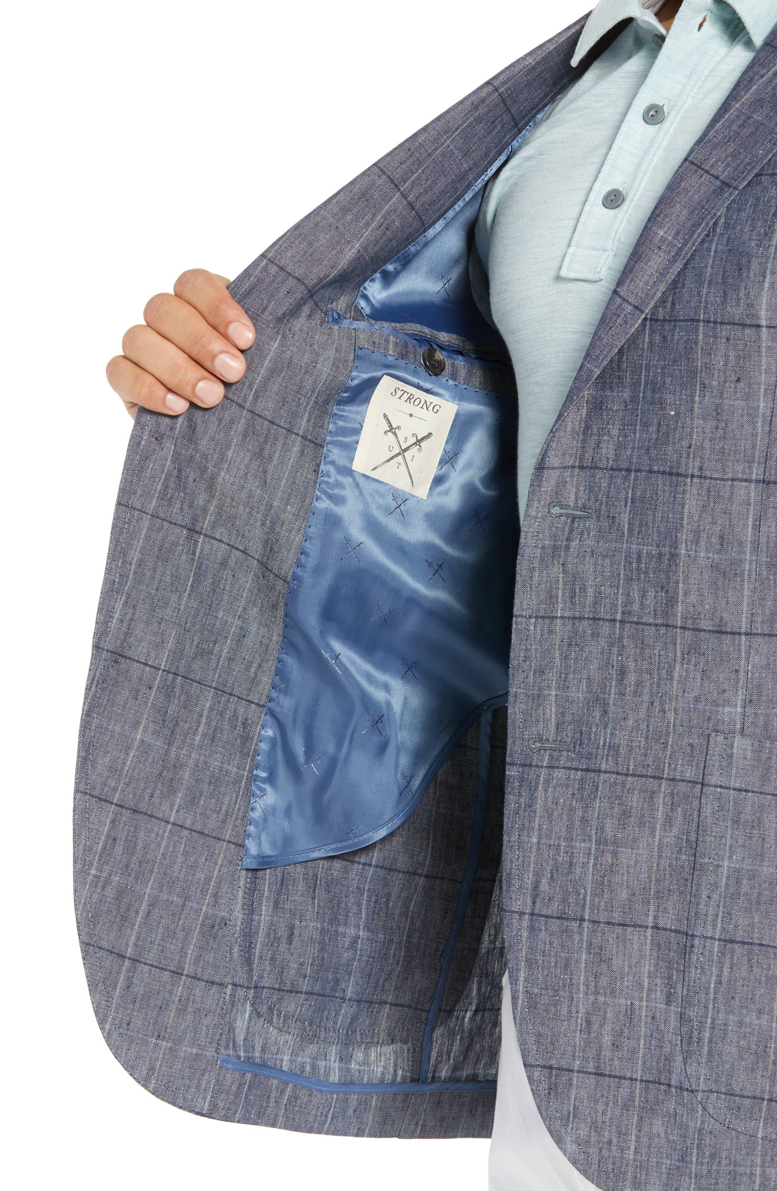 Vantage Trim Fit Windowpane Linen Sport Coat,                             Alternate thumbnail 4, color,                             Blue Graphite