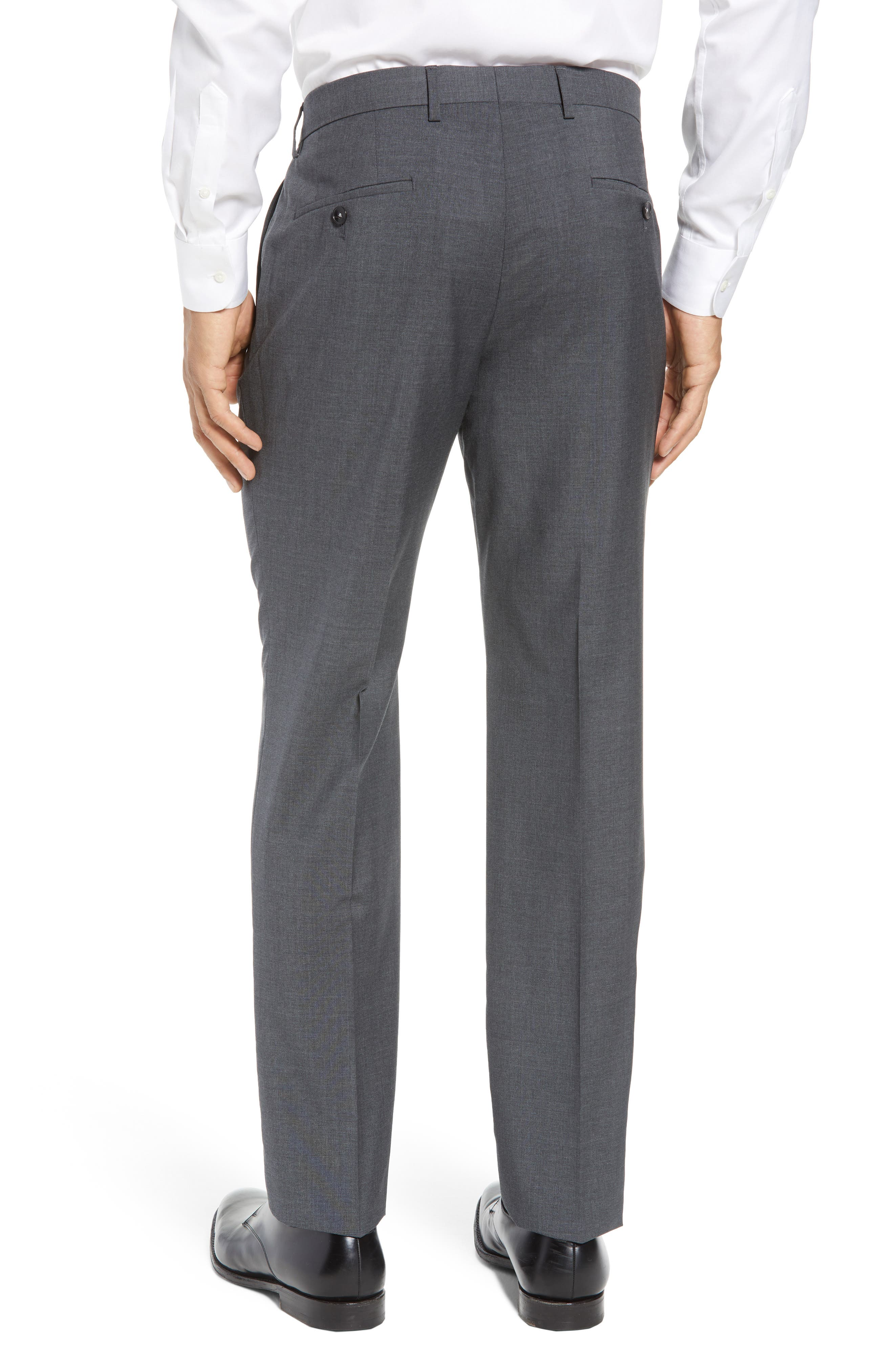 Genesis Flat Front Trim Fit Wool Trousers,                             Alternate thumbnail 2, color,                             Charcoal