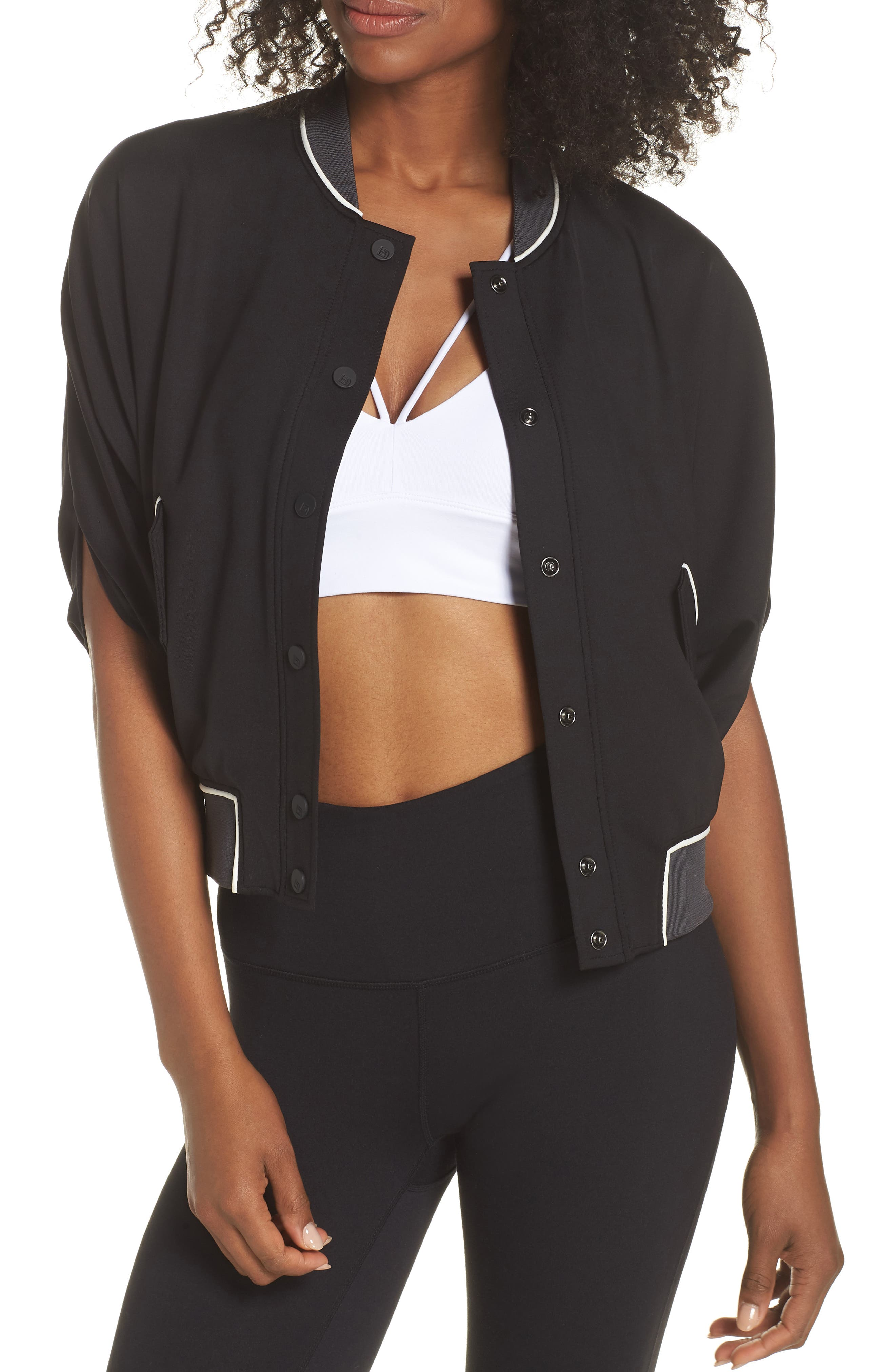 Butterfly Bomber Jacket,                         Main,                         color, Black/ Charcoal