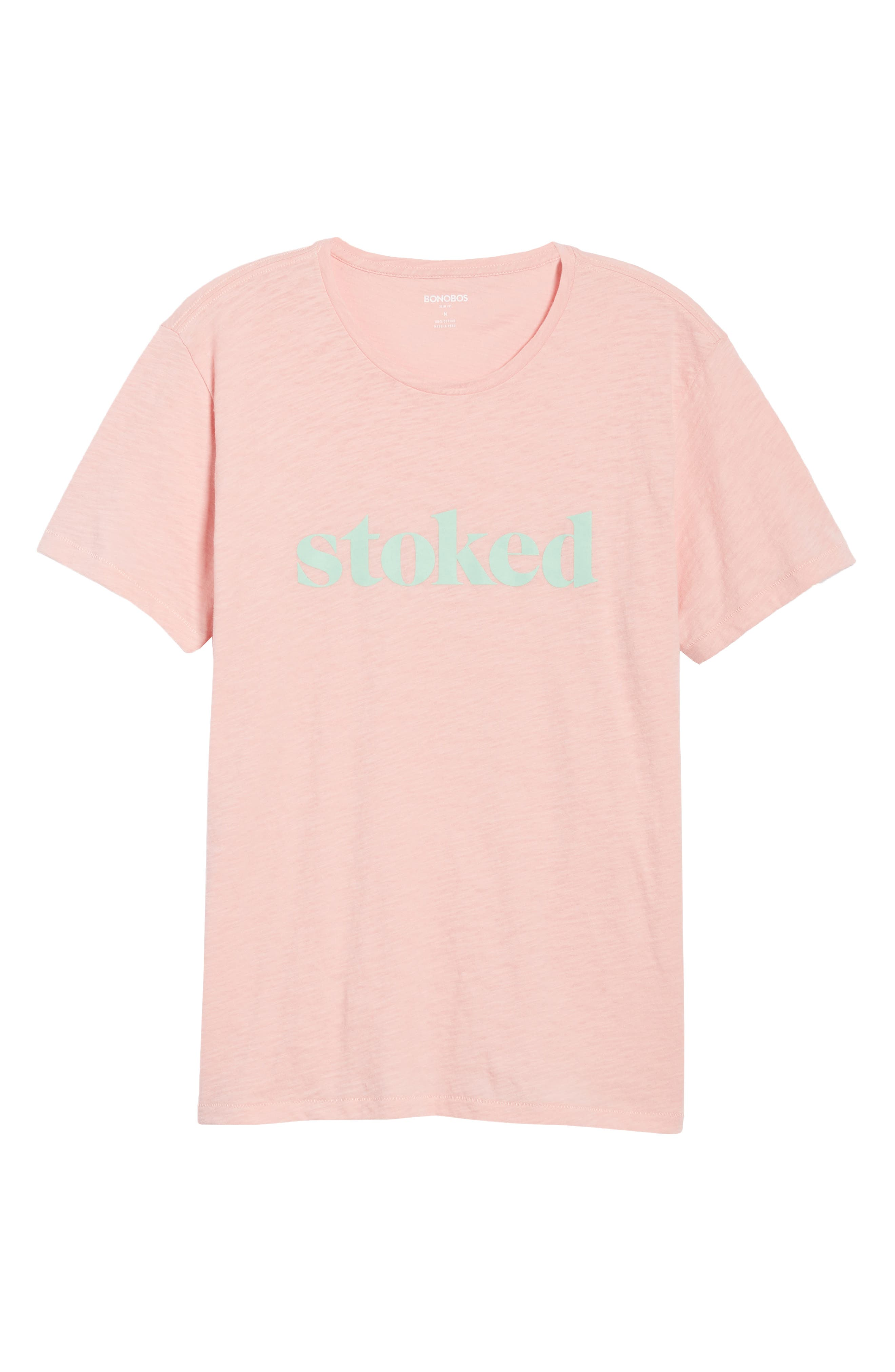 Stoked Slub T-Shirt,                             Alternate thumbnail 6, color,                             Pink Stoked
