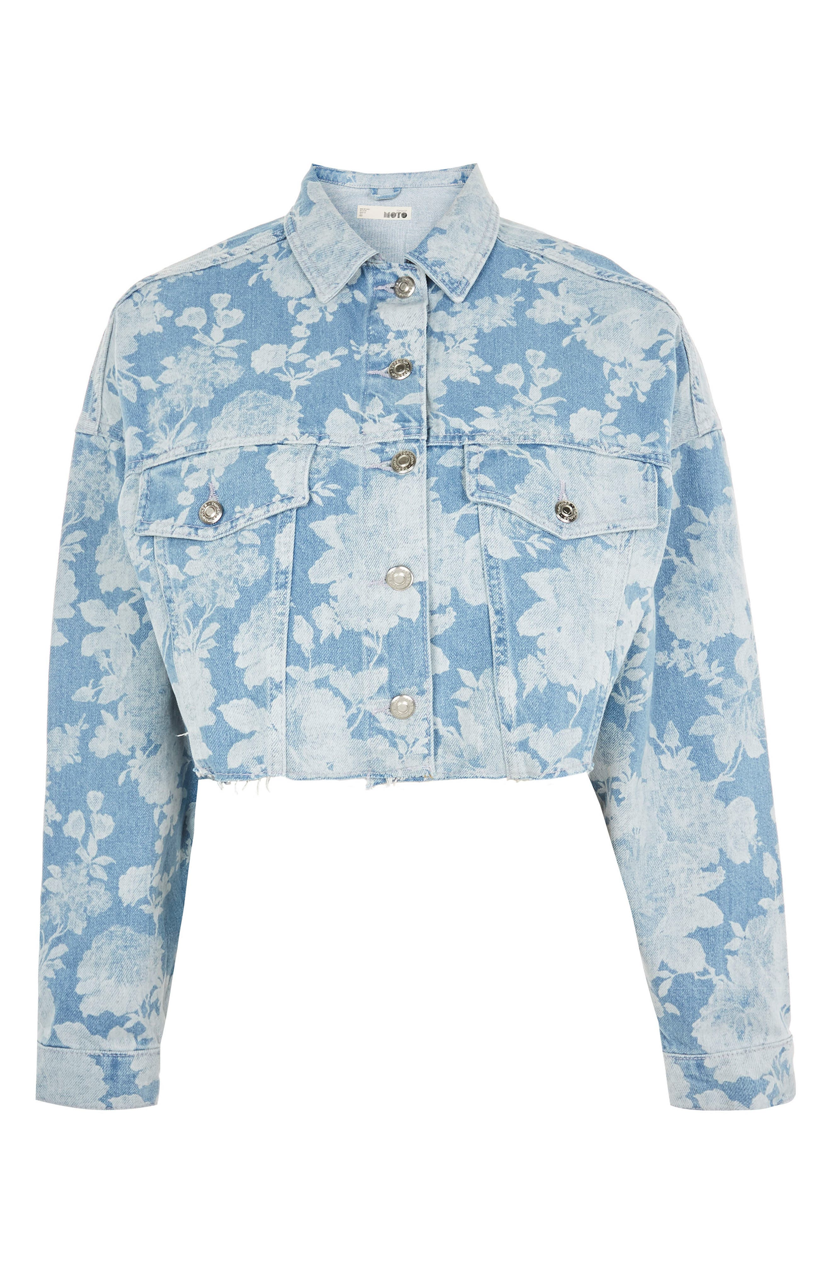 Floral Moto Two-Tone Denim Jacket,                             Alternate thumbnail 5, color,                             Mid Denim Multi