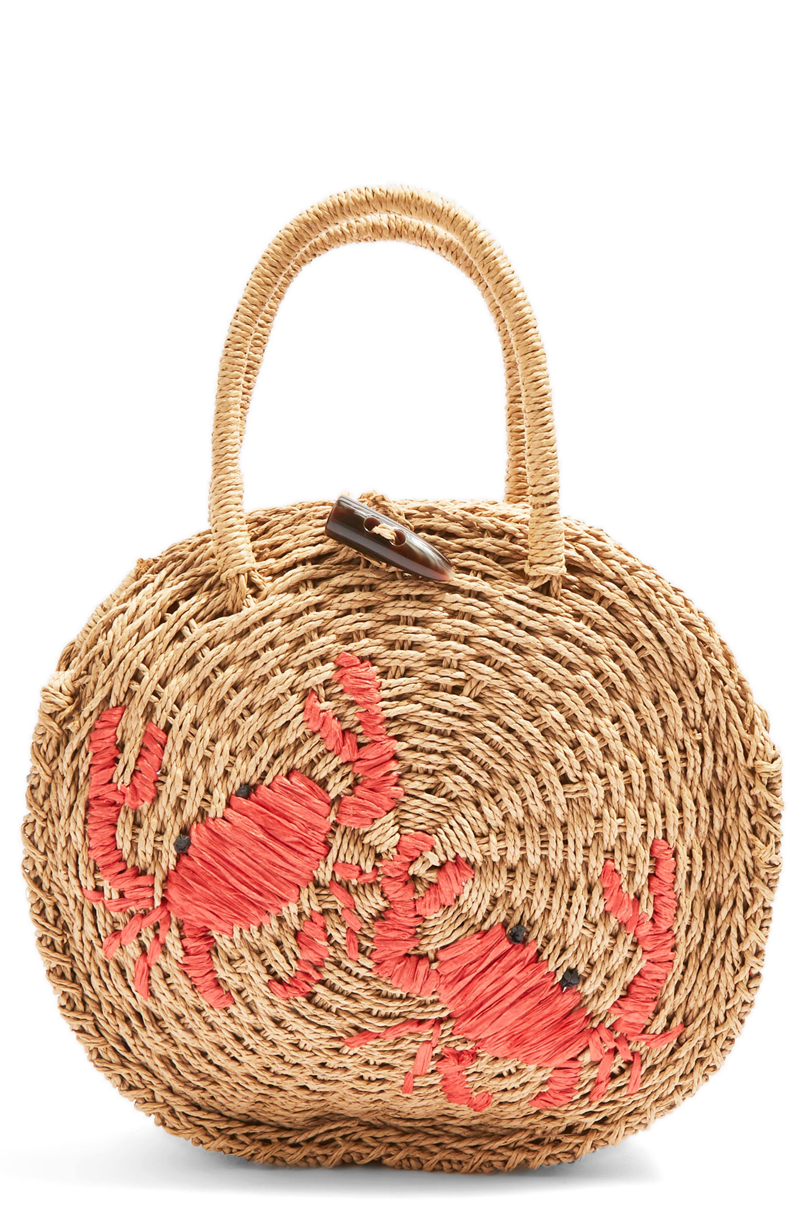 Main Image - Topshop Crab Straw Mini Tote Bag