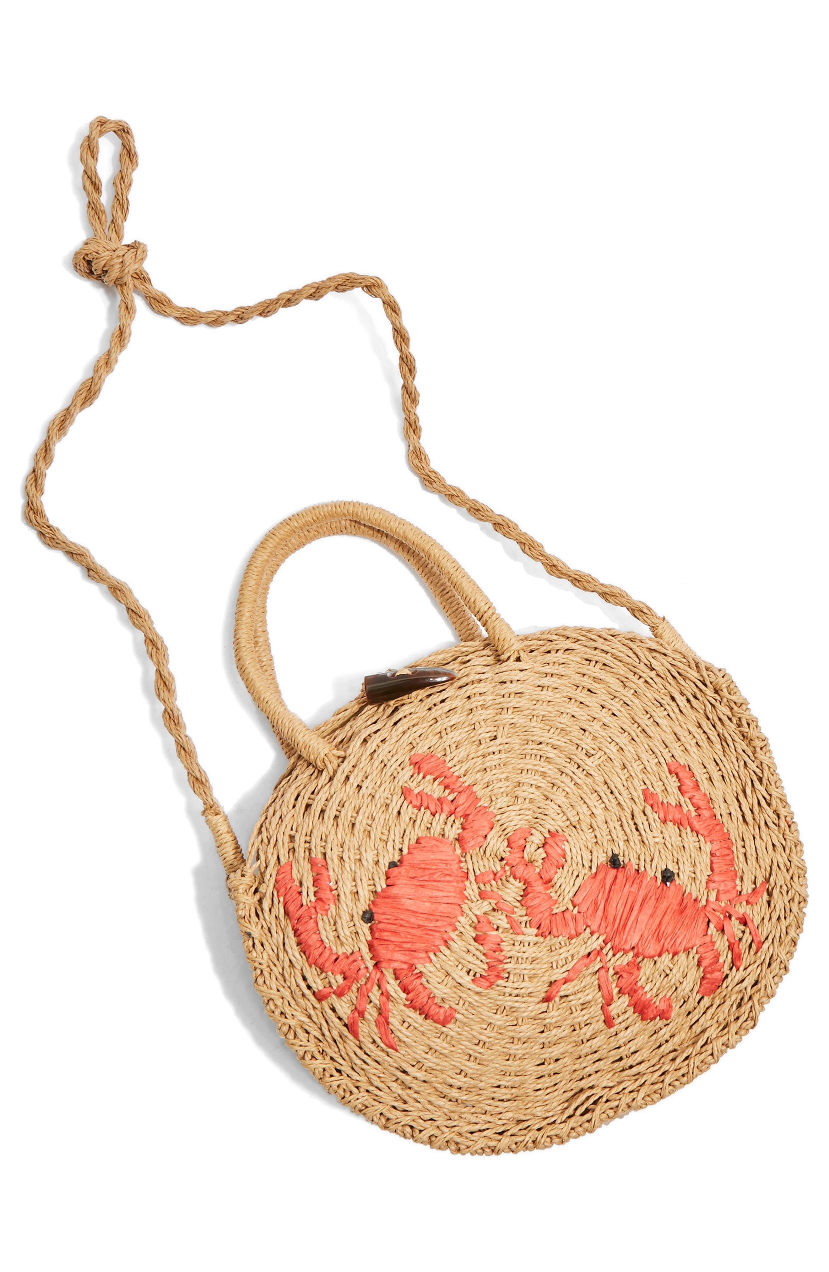 Alternate Image 3  - Topshop Crab Straw Mini Tote Bag