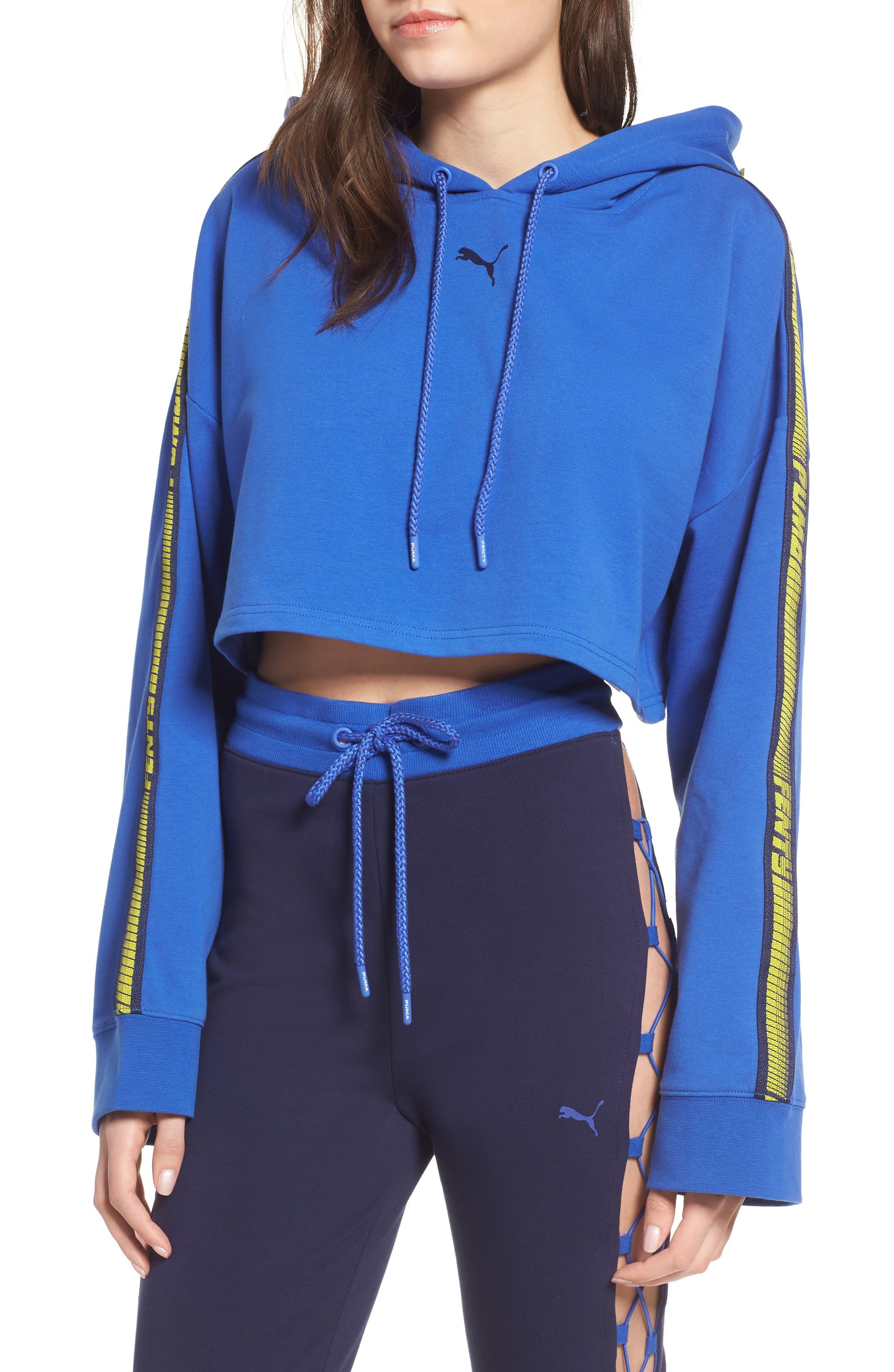 FENTY PUMA by Rihanna Hooded Crop Sweatshirt,                             Main thumbnail 1, color,                             Dazzling Blue