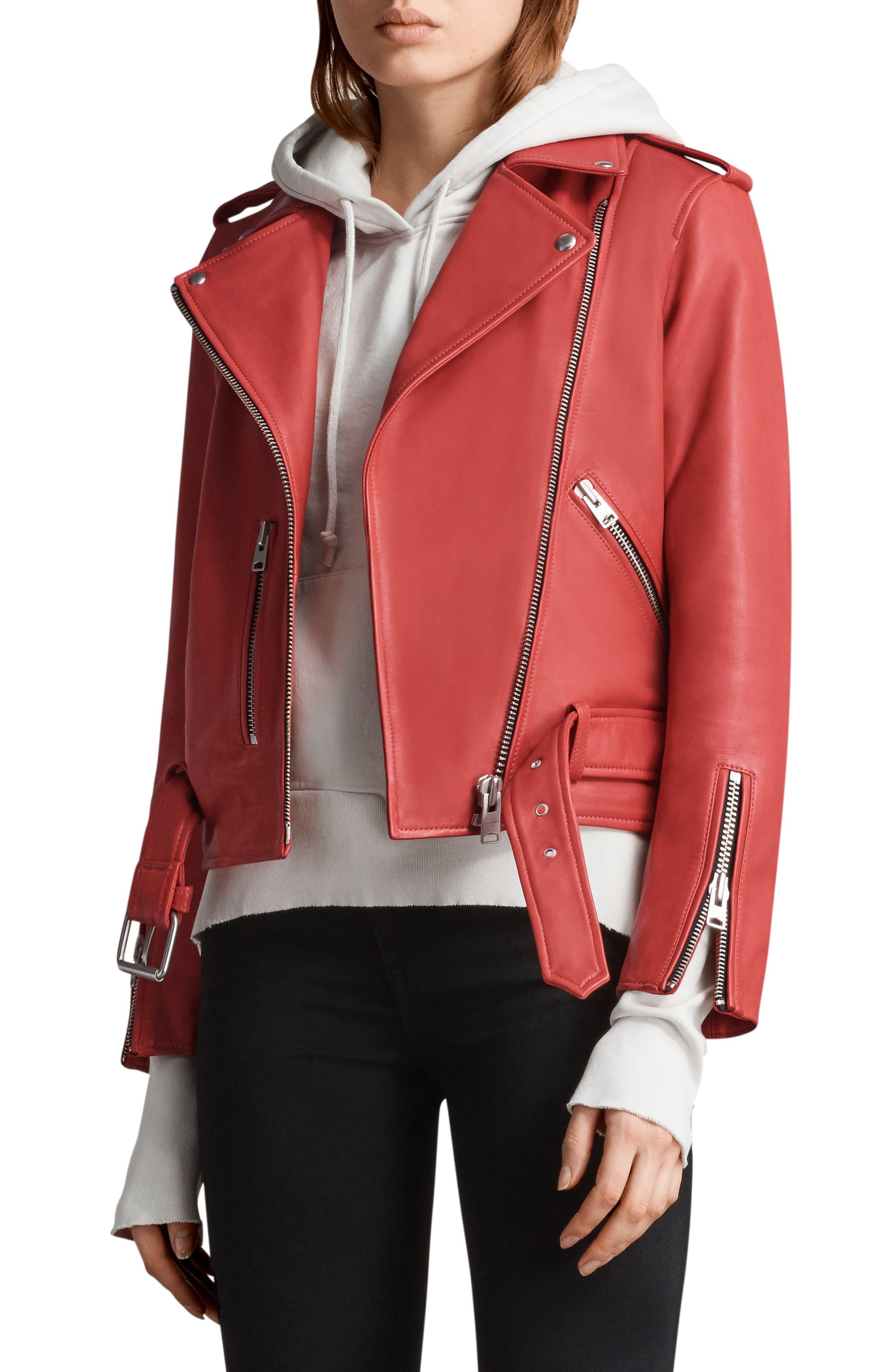 Balfern Leather Biker Jacket,                             Alternate thumbnail 4, color,                             Coral Red