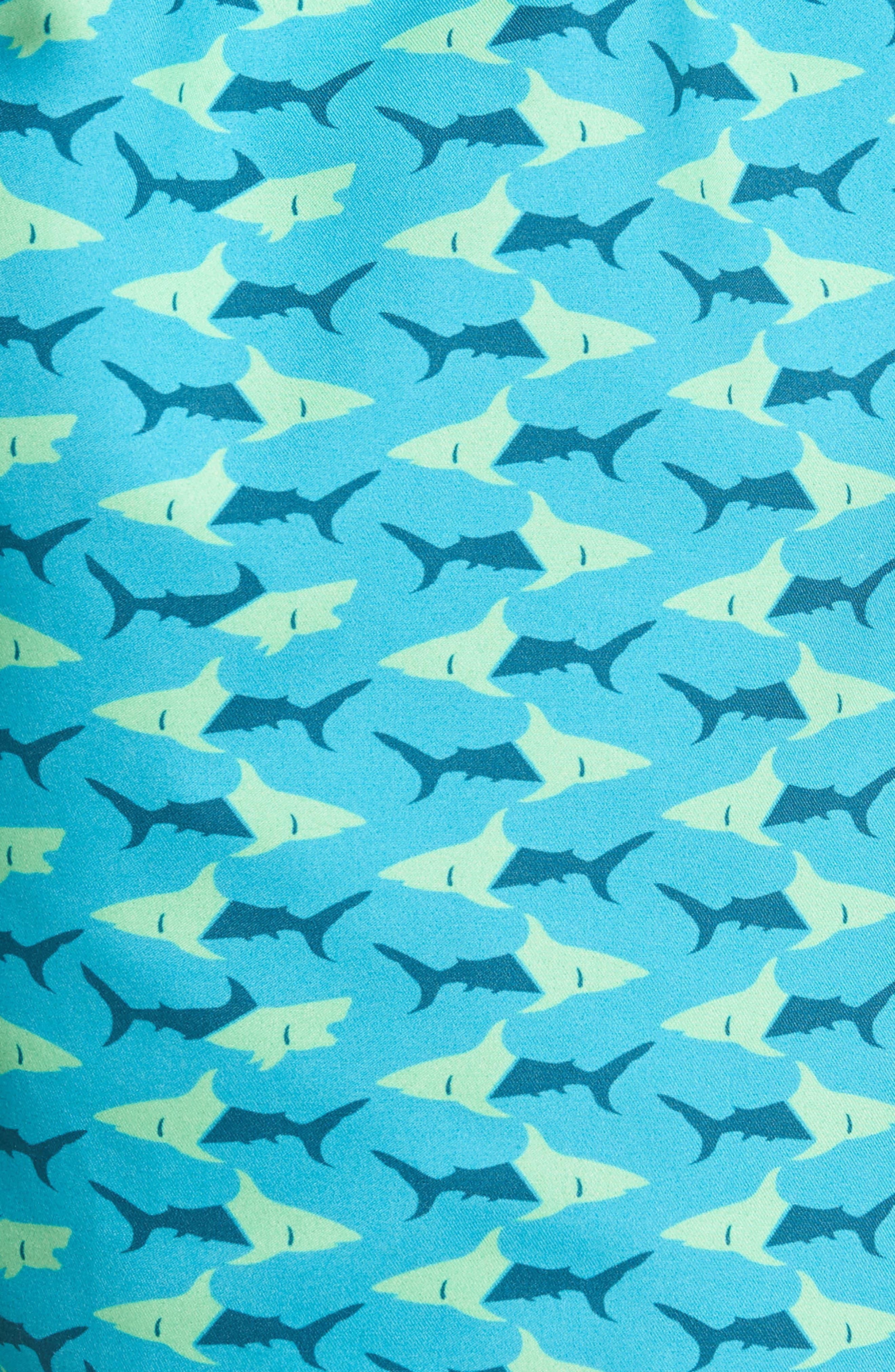 Piranha Shark Swim Trunks,                             Alternate thumbnail 5, color,                             Blue