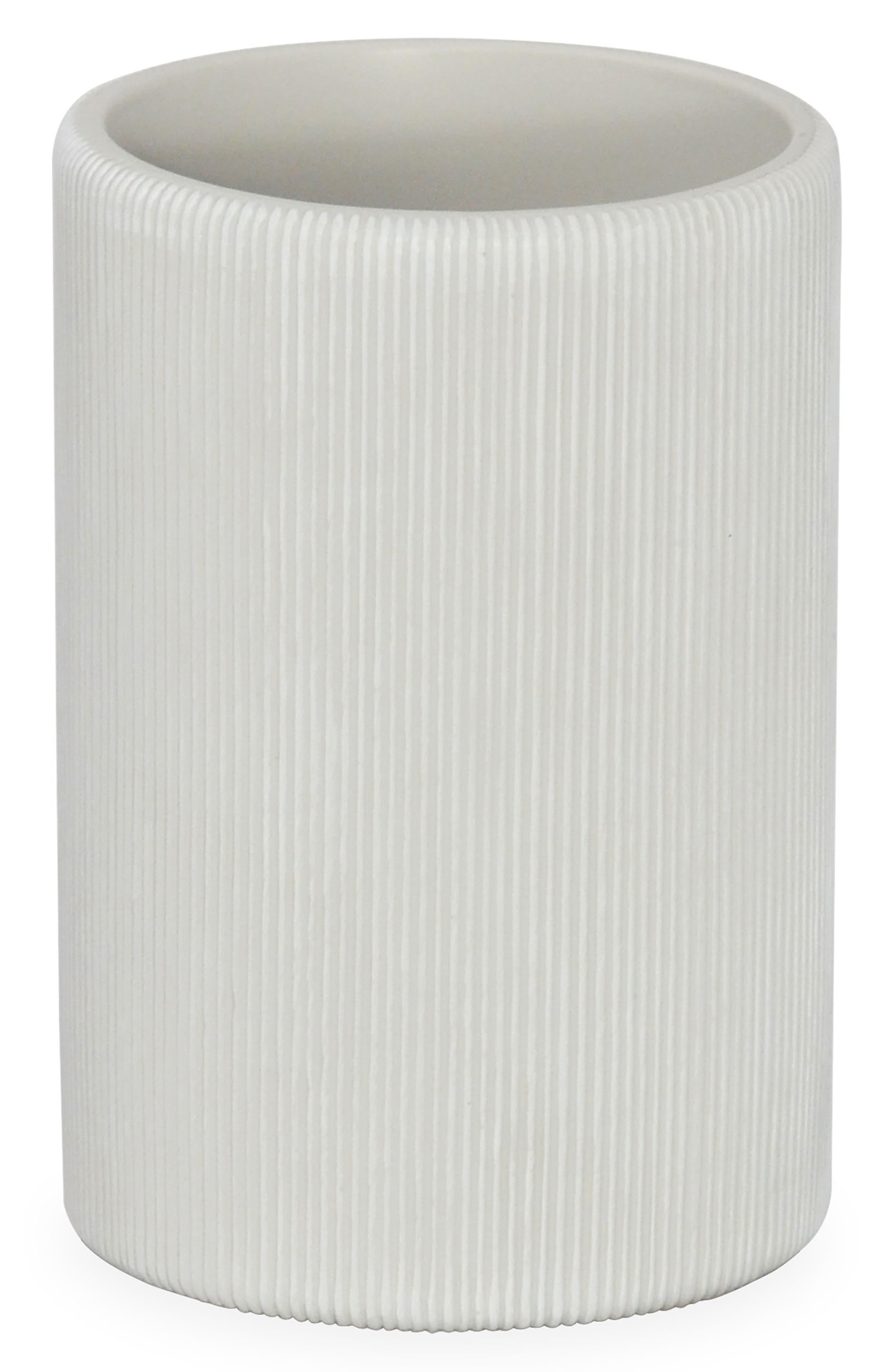 Fine Lines Ceramic Tumbler,                         Main,                         color, White