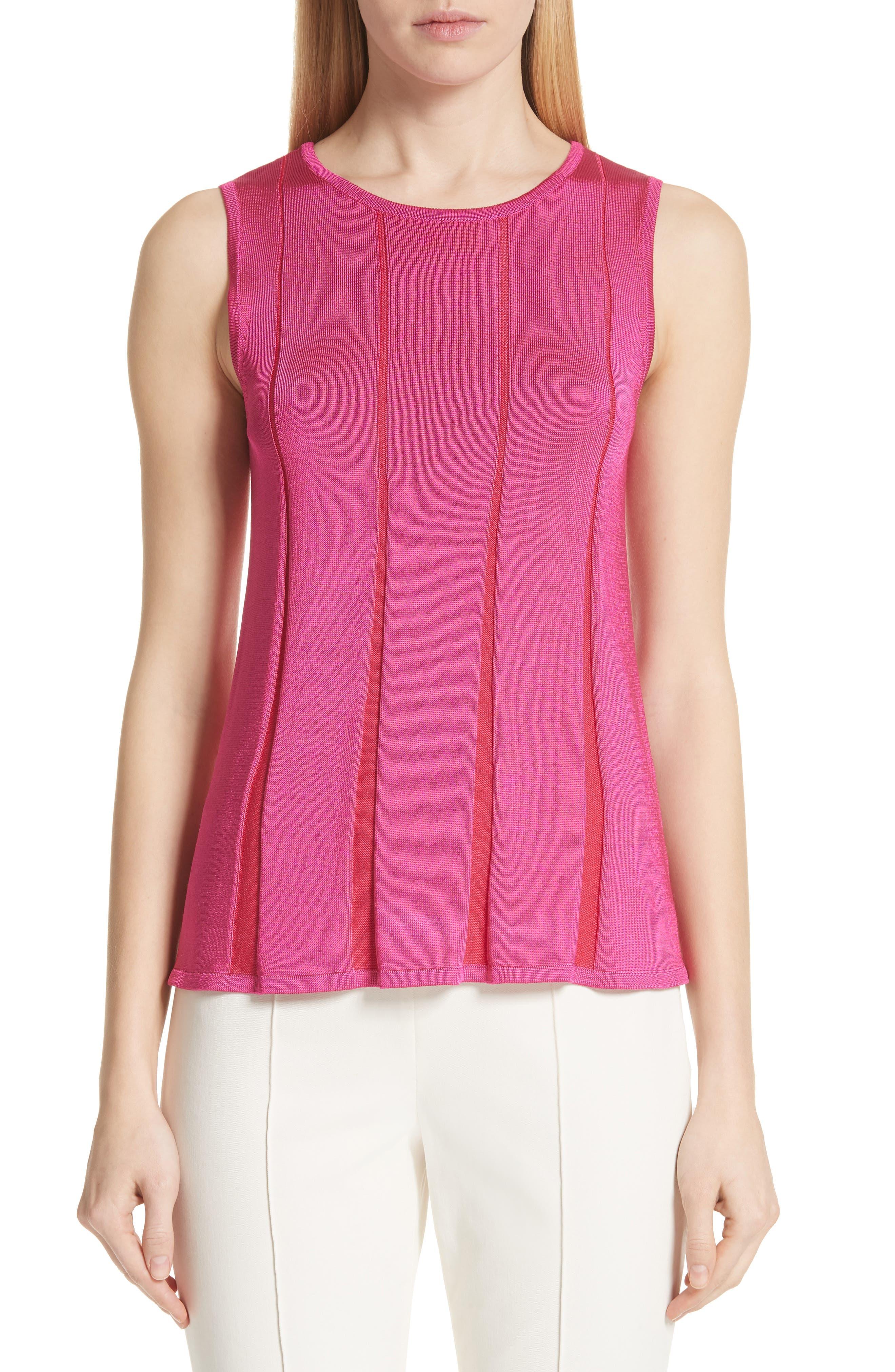 ST. JOHN Plaited Fit & Flare Sleeveless Sweater in Fuchsia/ Lingonberry