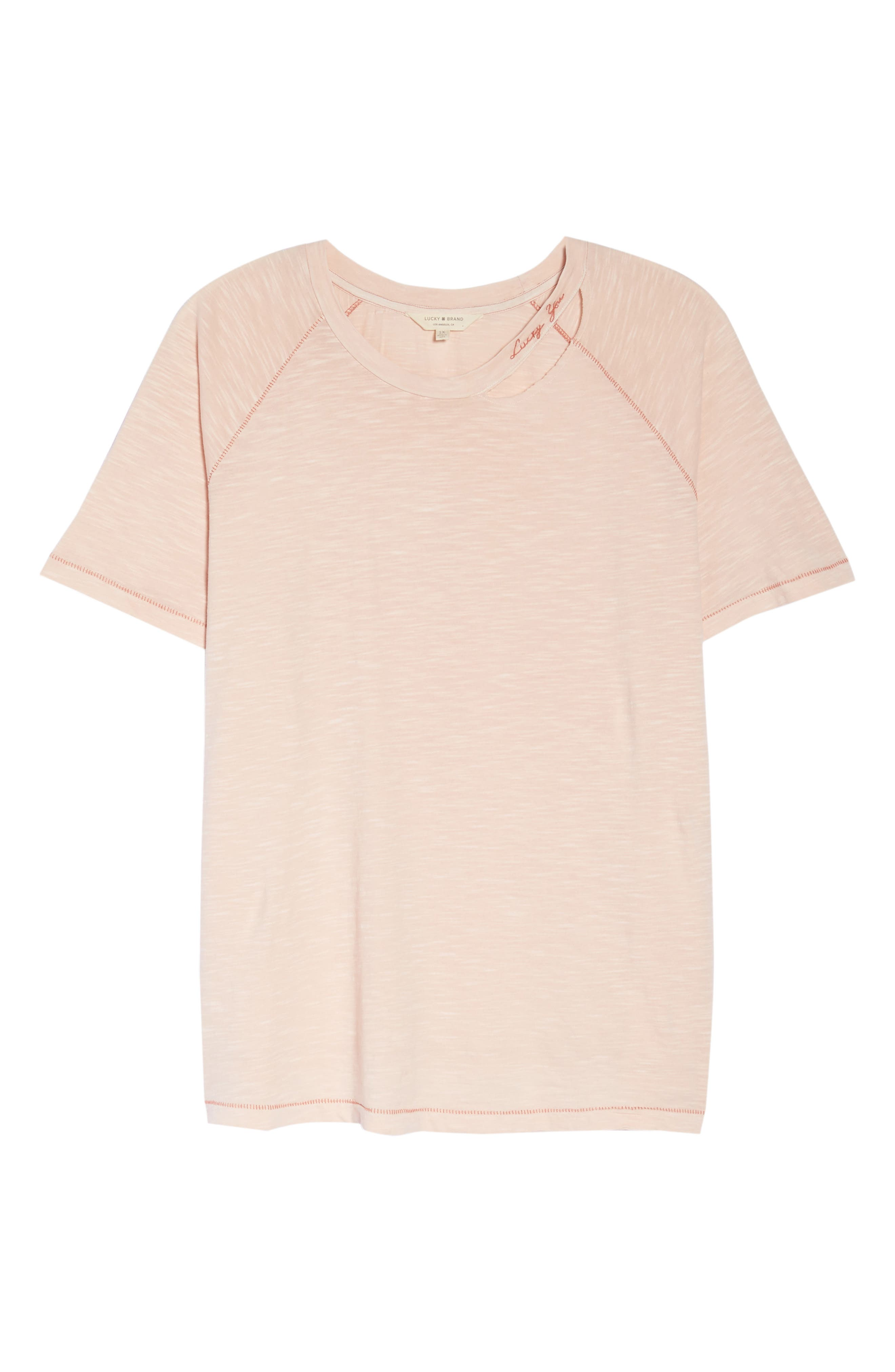 Lucky You Deconstructed Tee,                             Alternate thumbnail 7, color,                             Peach Whip