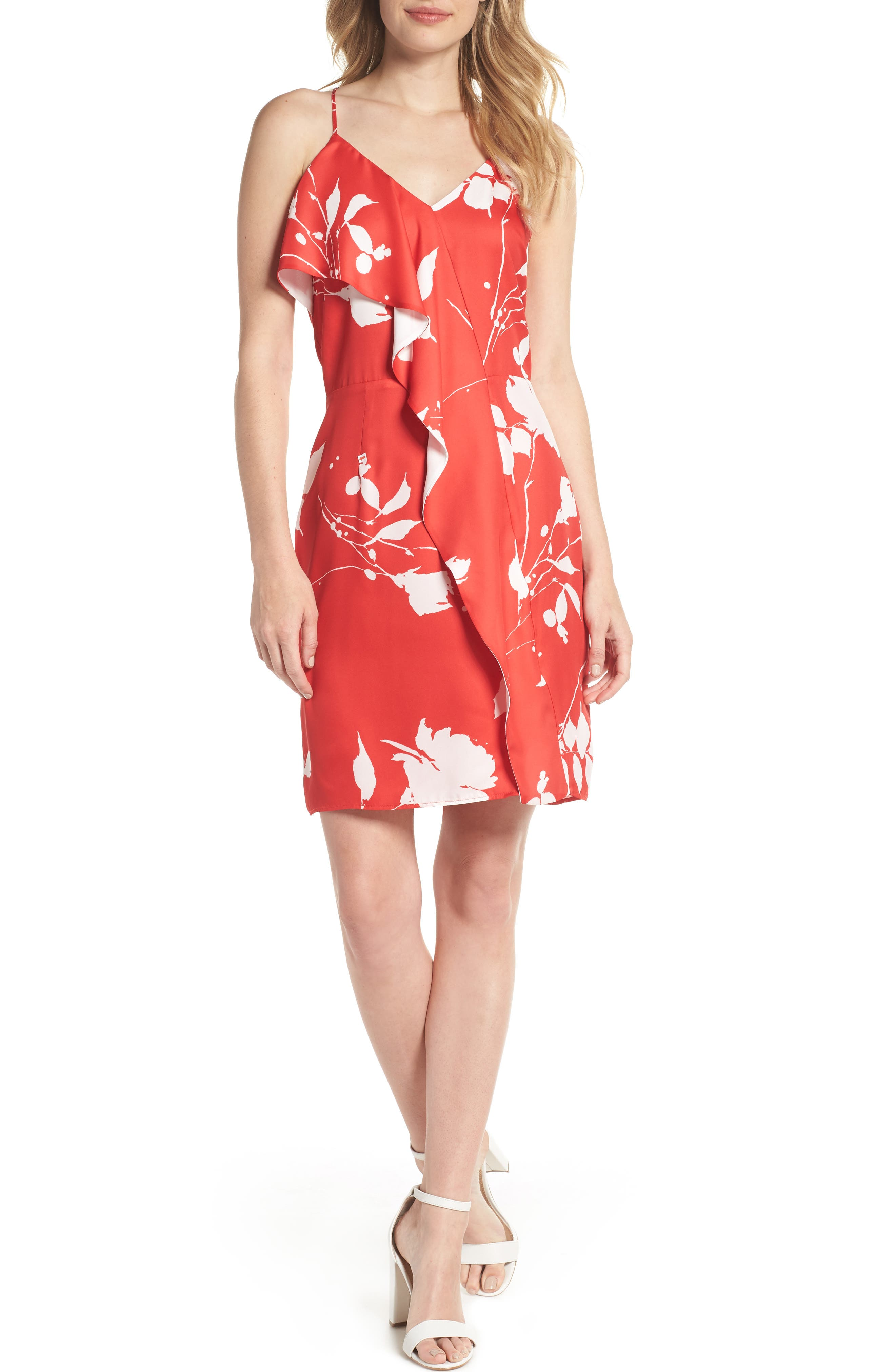 Floral Ruffle Front Sheath Dress,                             Main thumbnail 1, color,                             Red White Poppy