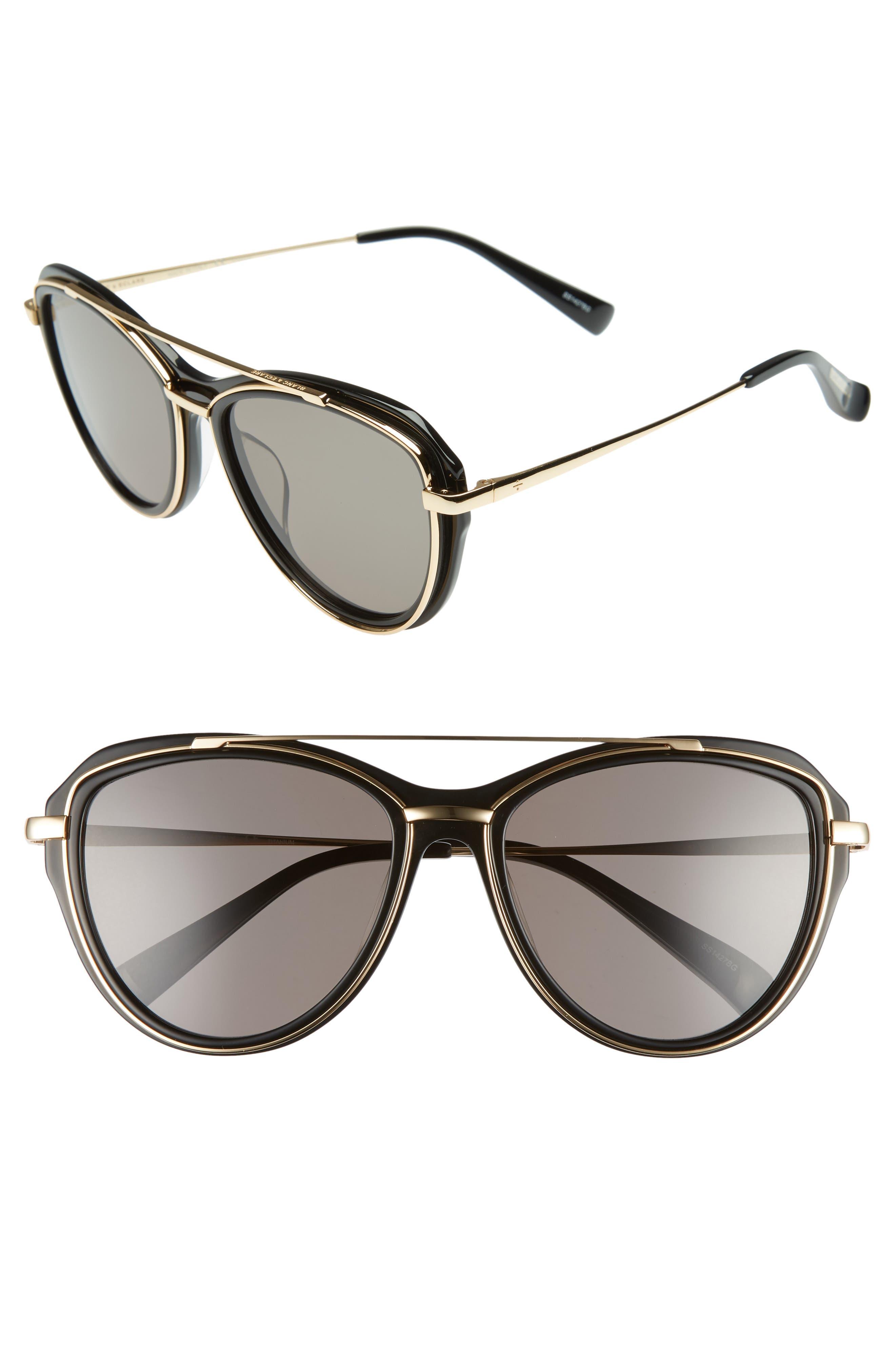 BLANC & ECLARE Marrakesh 57mm Aviator Sunglasses,                             Main thumbnail 1, color,                             Black/ Gold/ Smog Grey