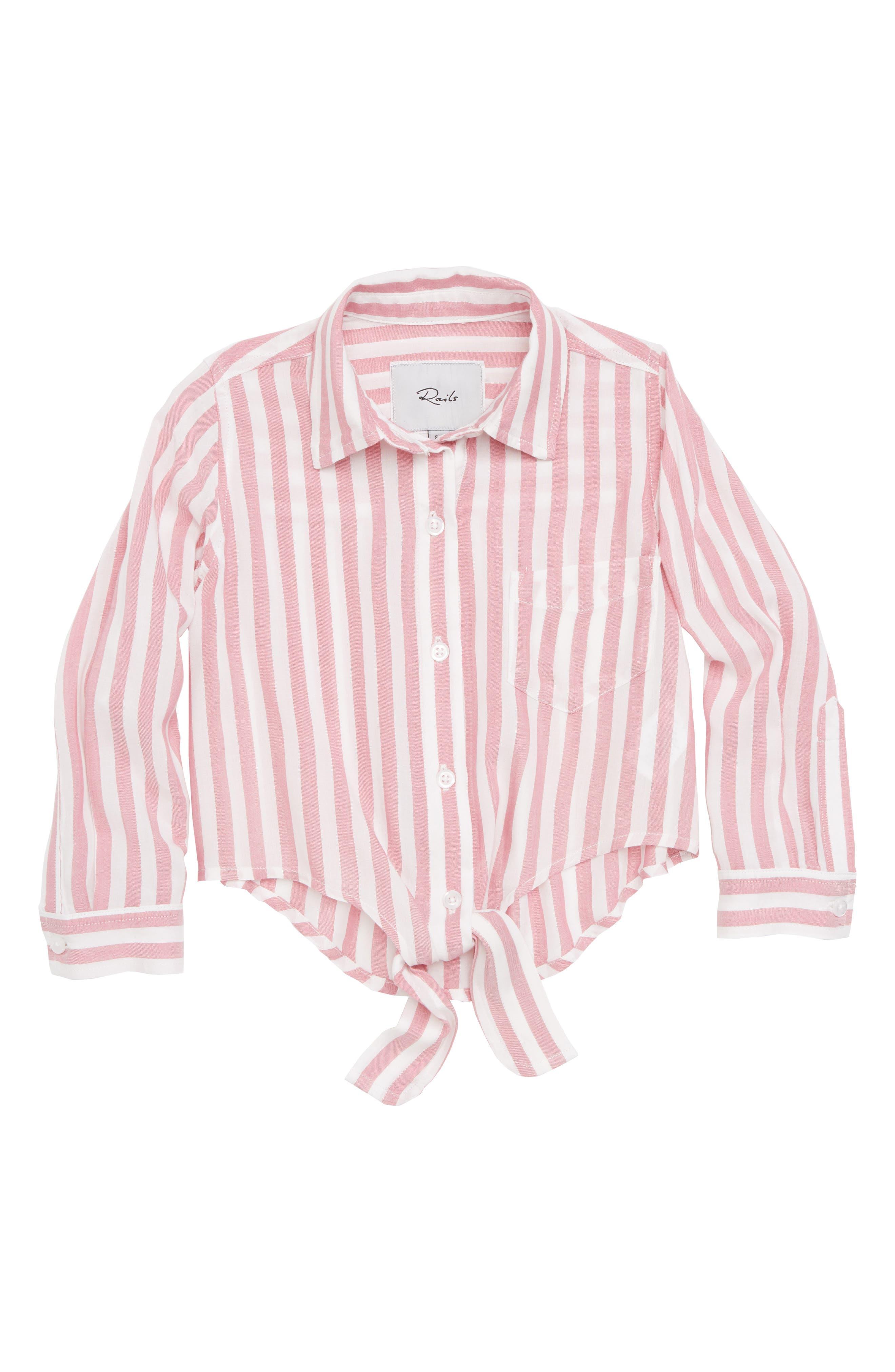 Valerie Tie Front Shirt,                         Main,                         color, Garnet White
