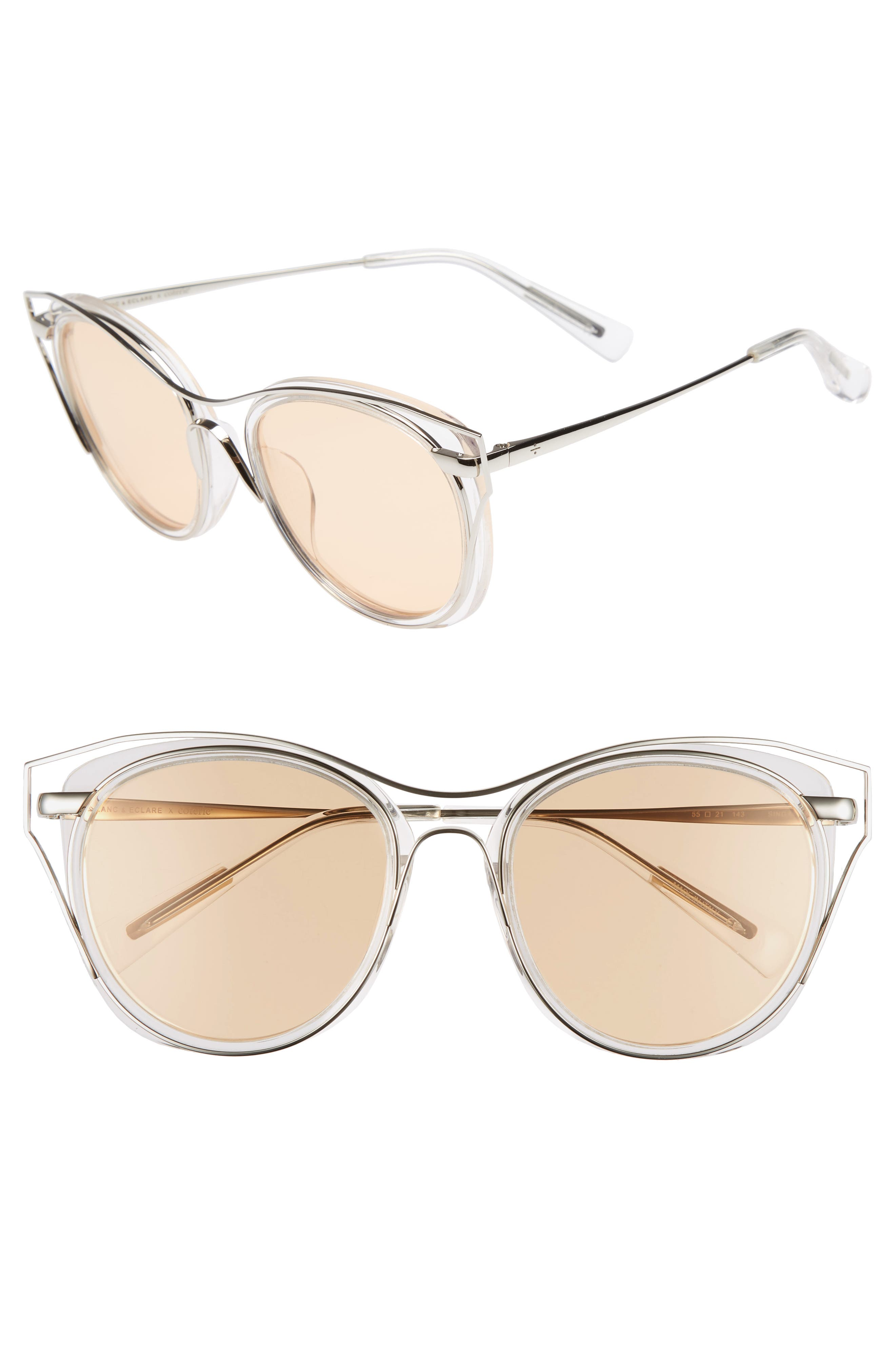 BLANC & ECLARE Singapore 55mm Polarized Sunglasses,                             Main thumbnail 1, color,                             Transparent/ Slv/ Orange