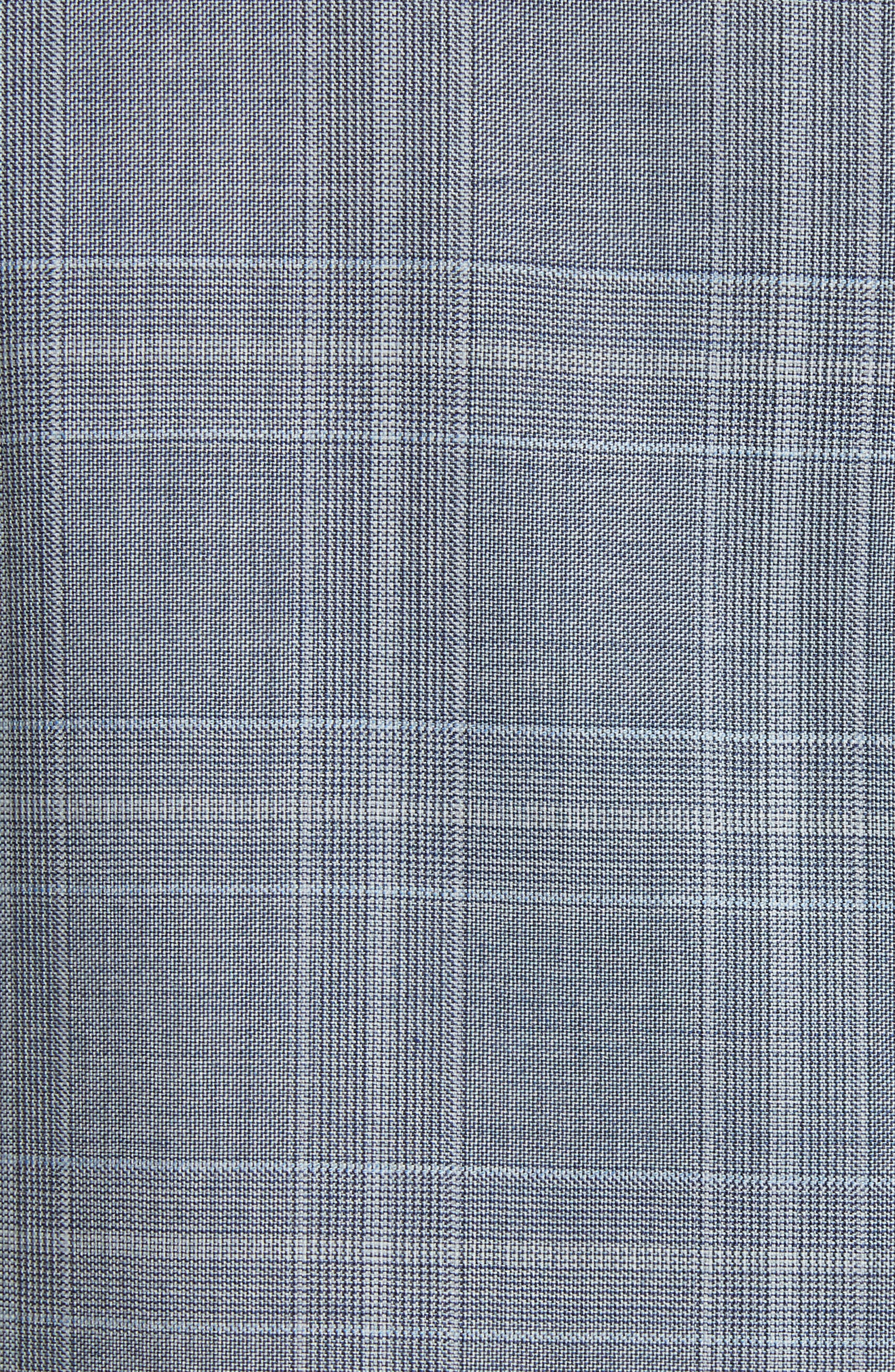 G-Line Trim Fit Plaid Wool Suit,                             Alternate thumbnail 7, color,                             Grey