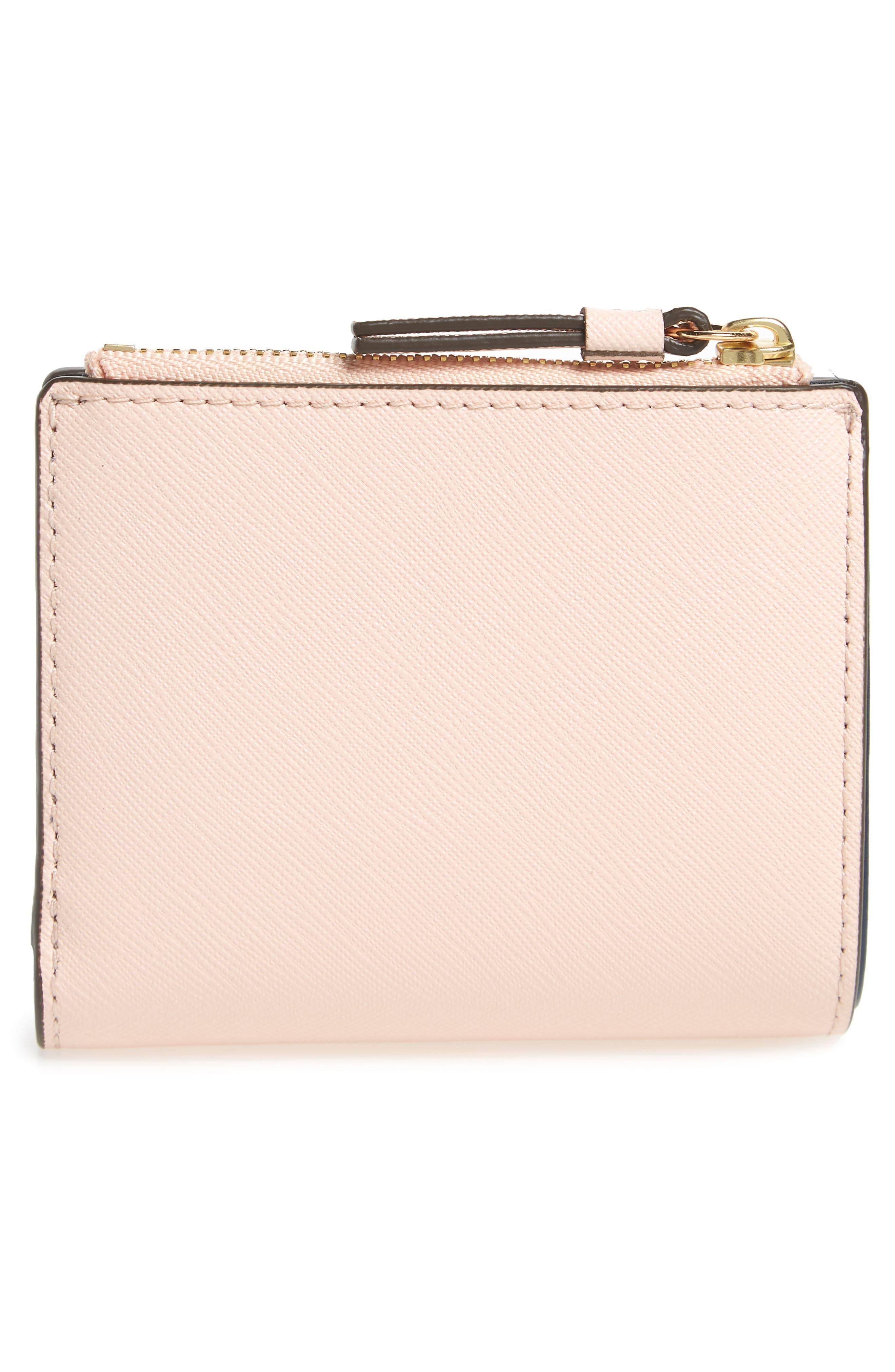 Mini Robinson Wallet Leather Bifold Wallet,                             Alternate thumbnail 4, color,                             Pale Apricot / Royal Navy