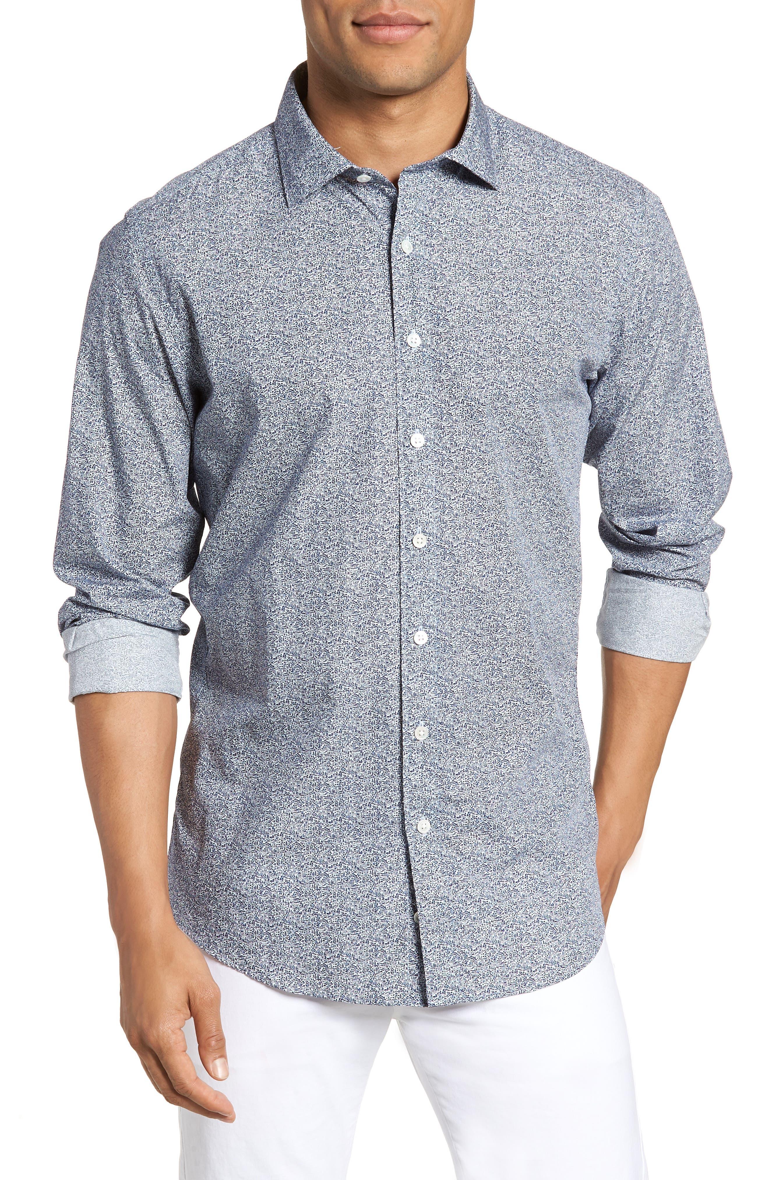 Massey West Slim Fit Sport Shirt,                             Main thumbnail 1, color,                             Ink