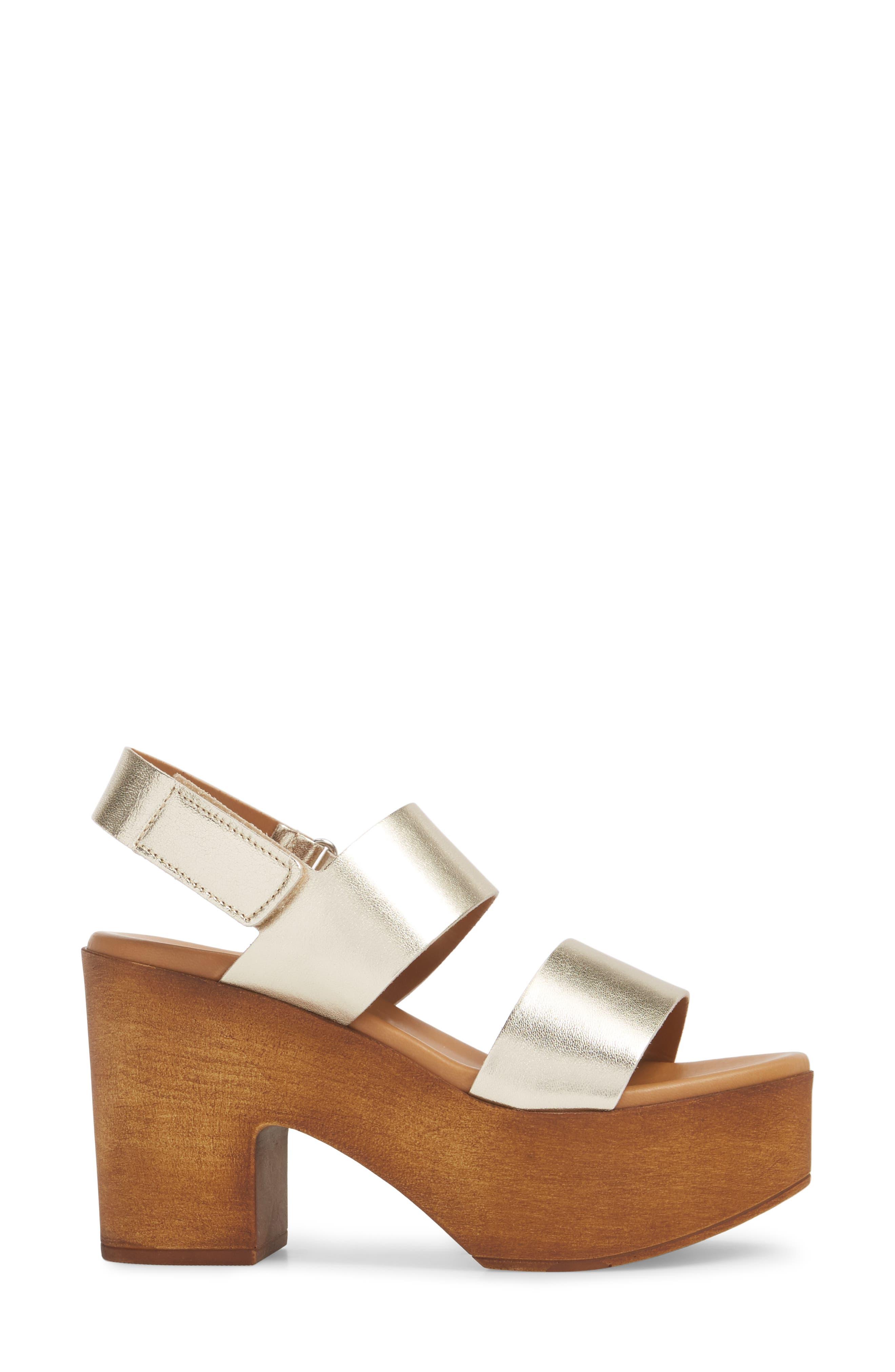 Marena Slingback Platform Sandal,                             Alternate thumbnail 3, color,                             Champagne