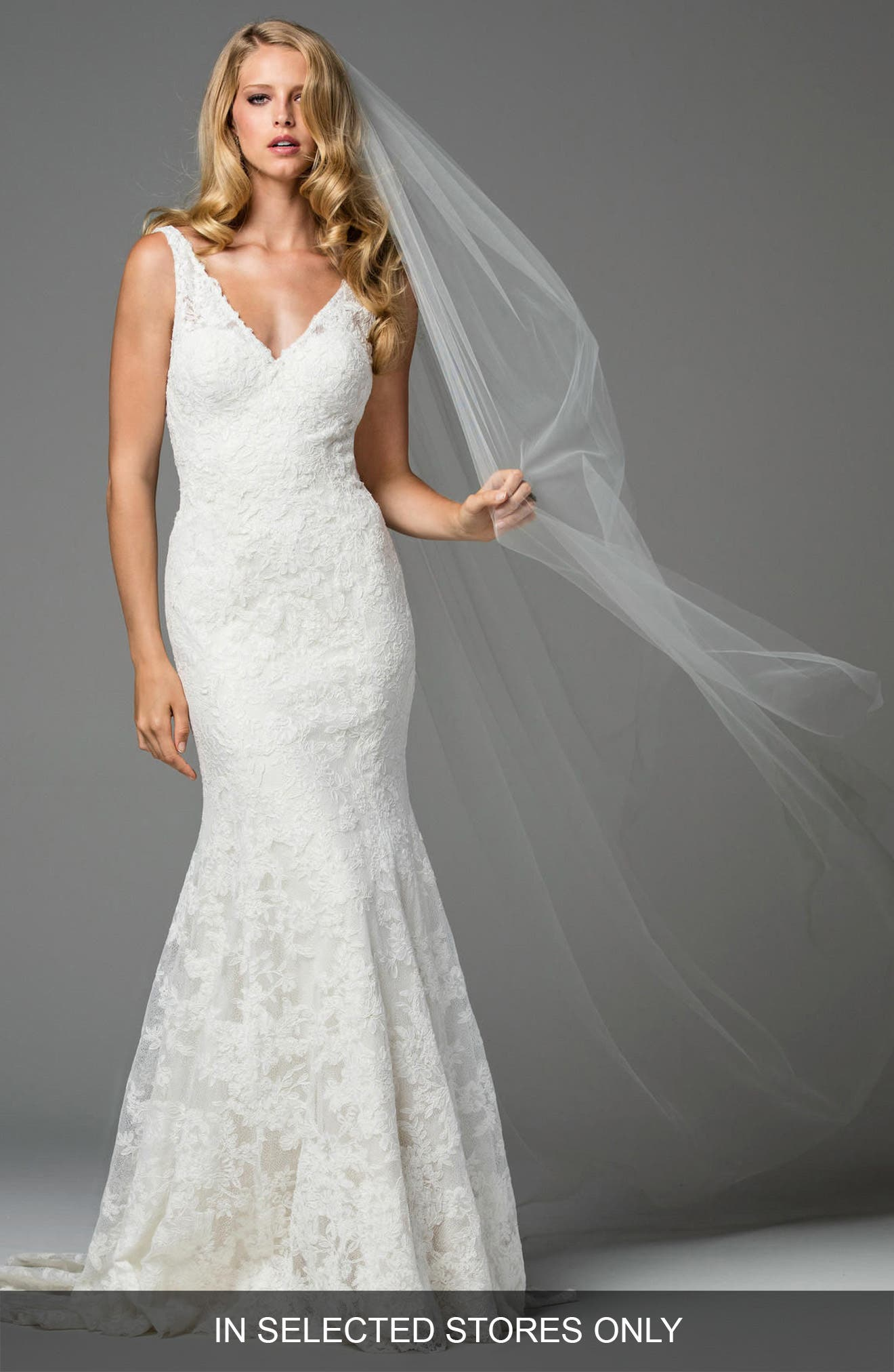 Millais Lace Mermaid Gown,                         Main,                         color, Ivory/ Oyster