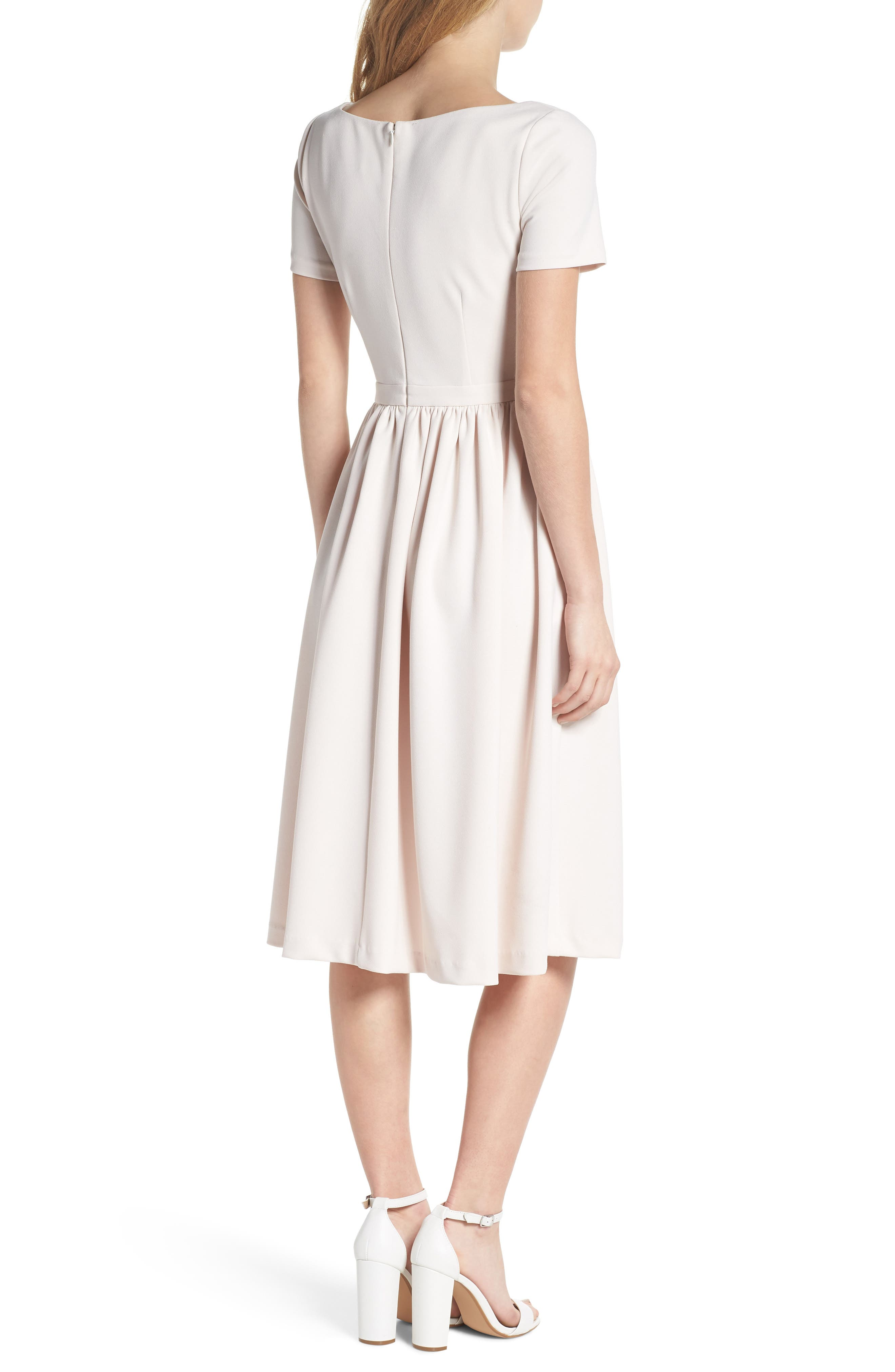 Annie Scuba Crepe Fit & Flare Dress,                             Alternate thumbnail 2, color,                             Milk