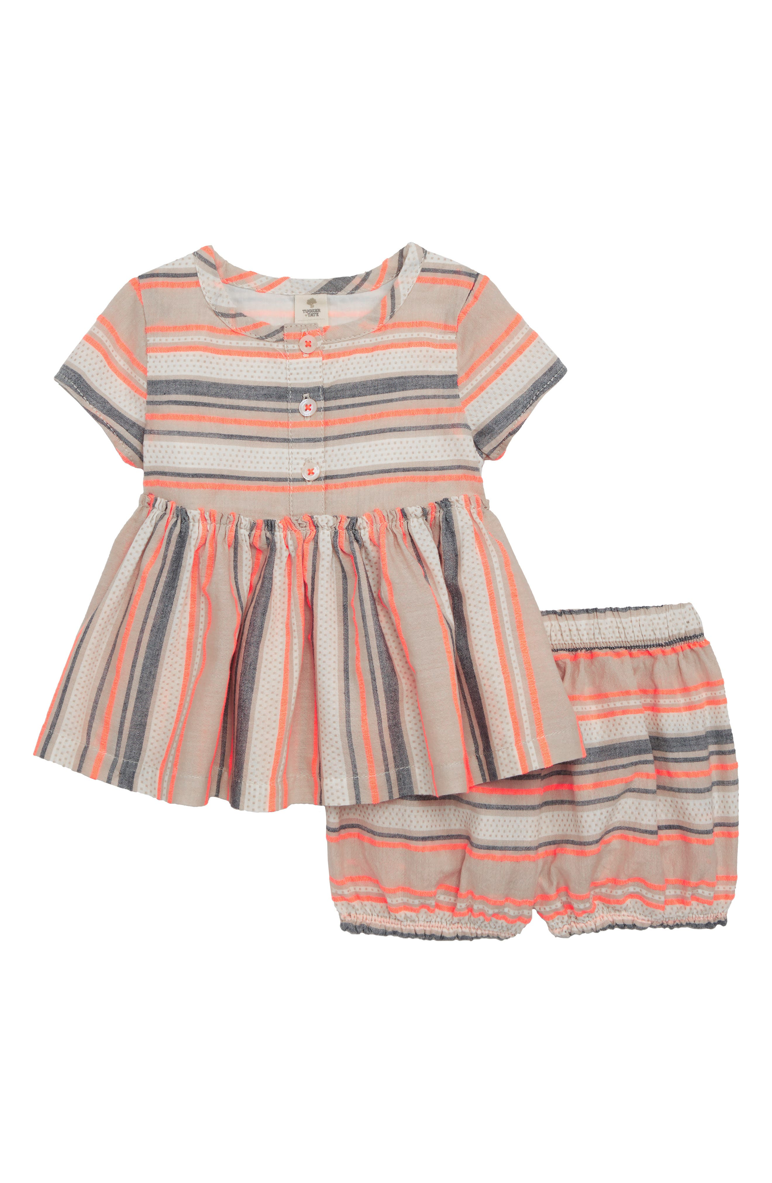 Woven Stripe Swing Top & Bubble Shorts Set,                             Main thumbnail 1, color,                             Pink Cloud Multi Stripe