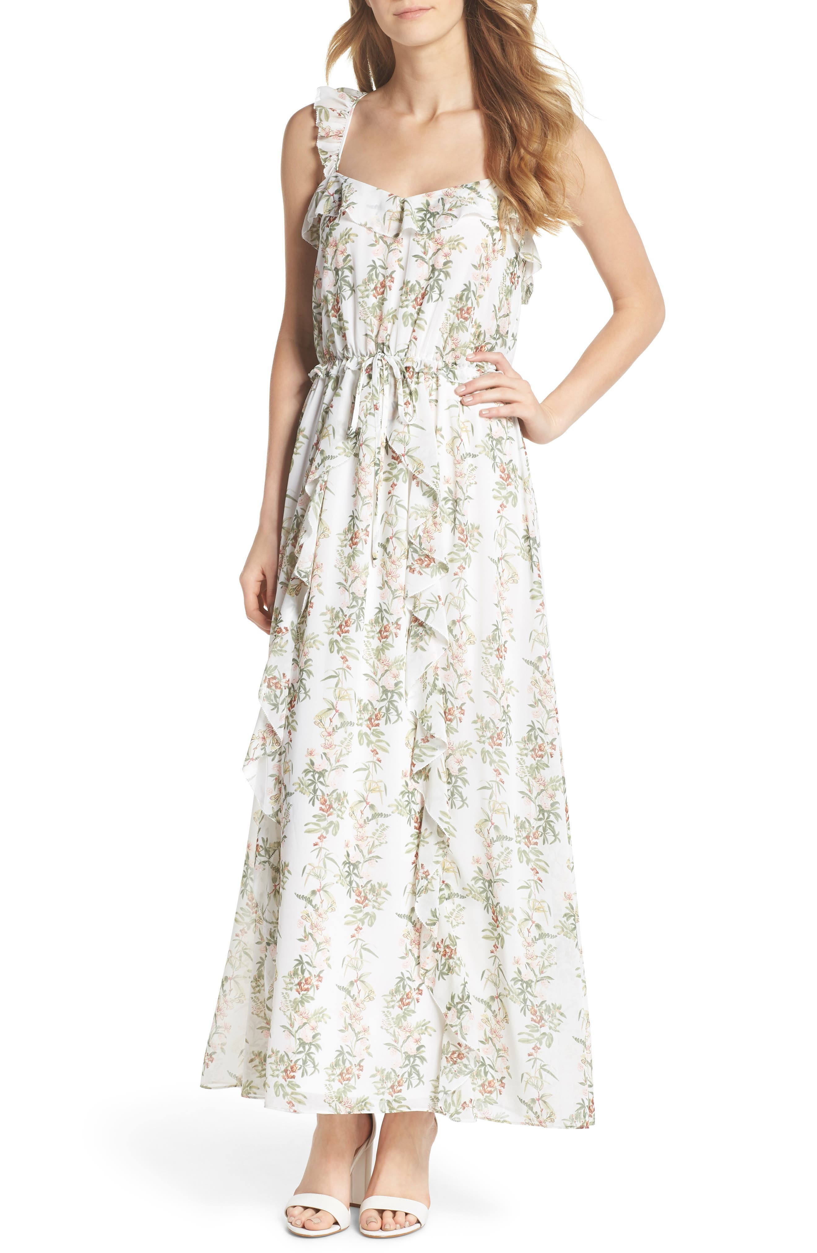 Gal Meets Glam Collection Isabella Floral Stripe Cross Back Maxi Dress
