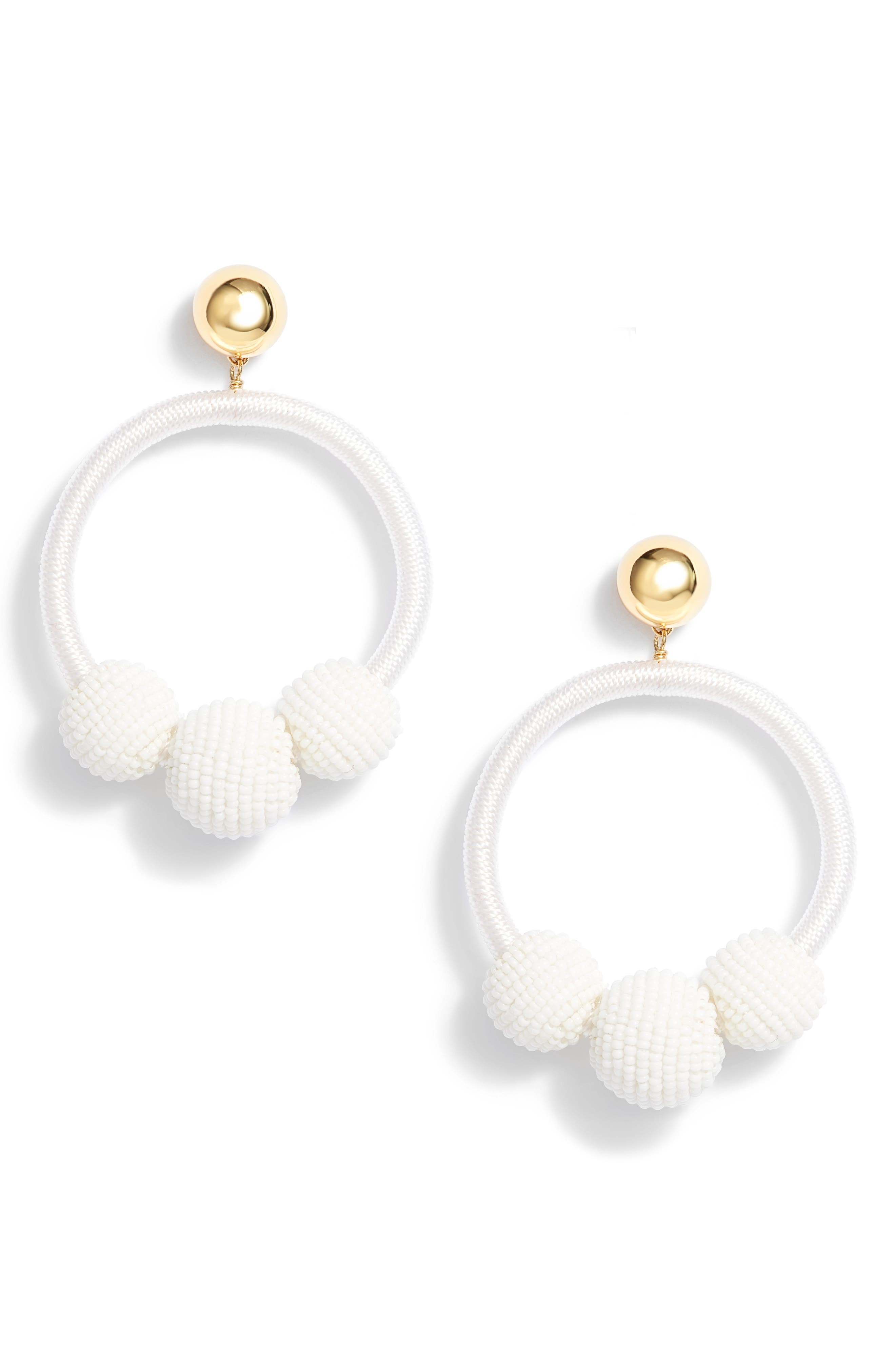 the bead goes on hoop statement earrings,                         Main,                         color, White