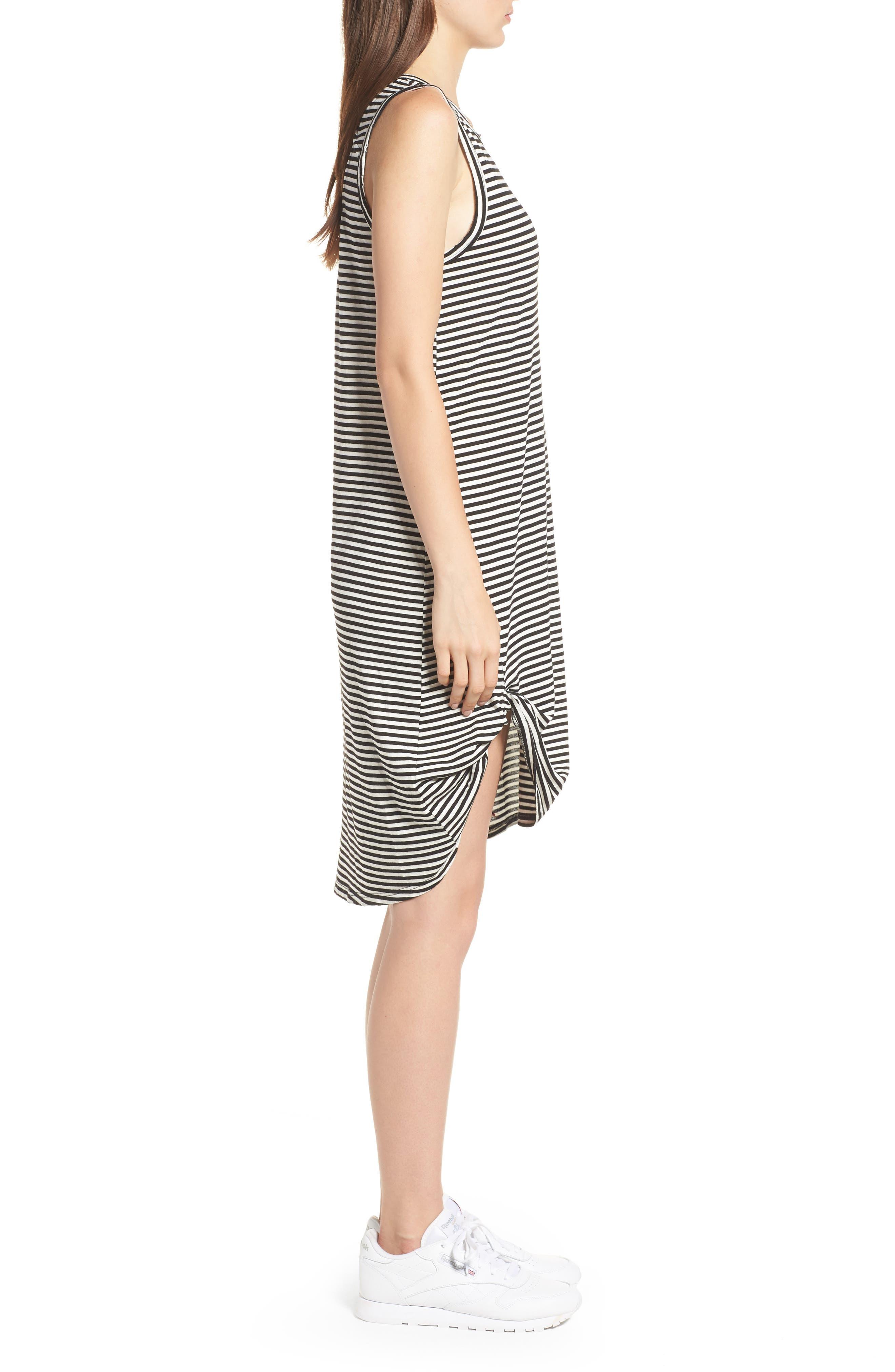 Boo Stripe High/Low Dress,                             Alternate thumbnail 3, color,                             Black Cat/ White Stripe