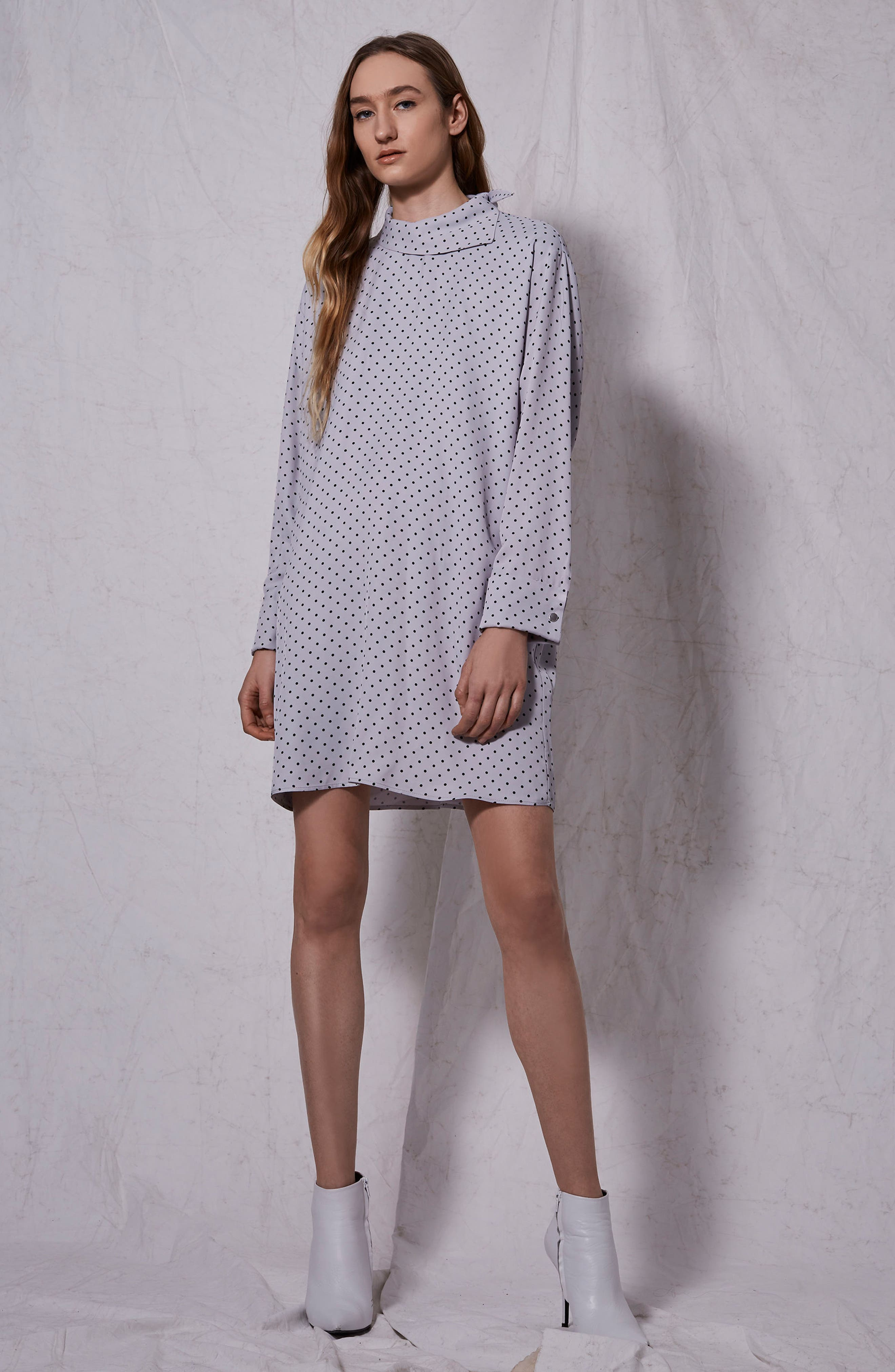 Alternate Image 4  - Topshop Boutique Fold Neck Spot Shift Dress