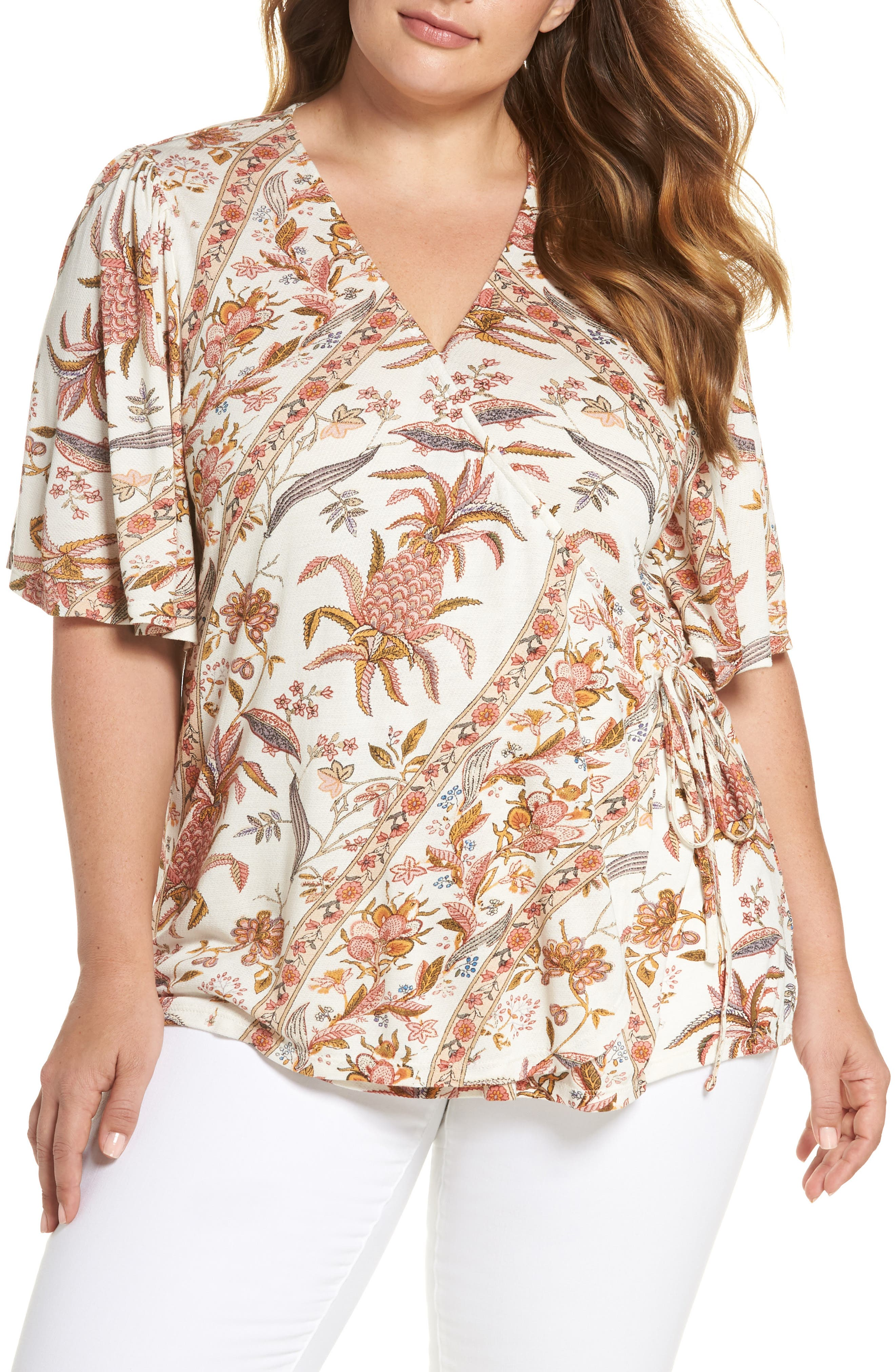 Lucky Brand Floral Wrap Top (Plus Size)