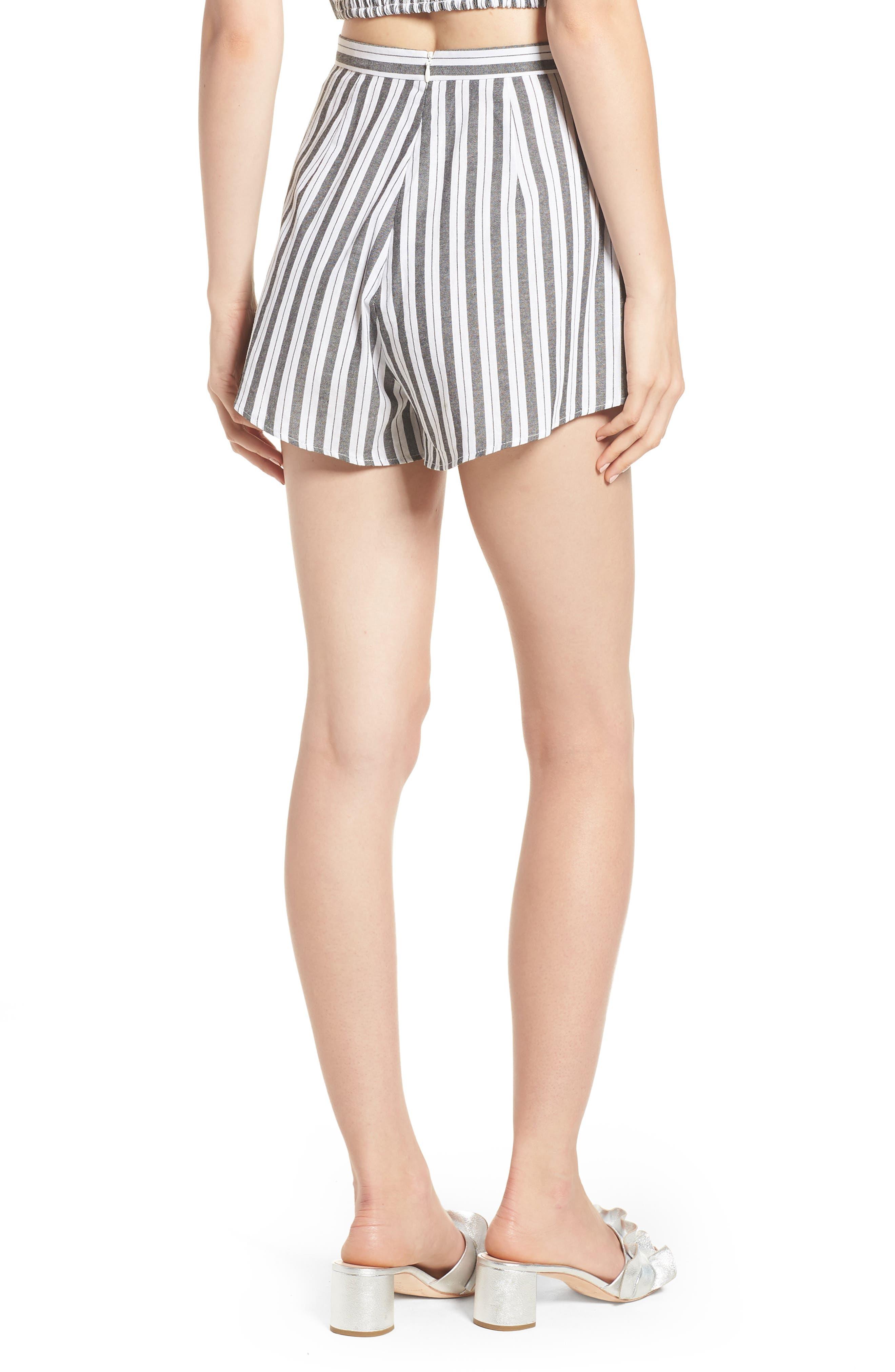 Acacia Stripe High Waist Shorts,                             Alternate thumbnail 3, color,                             Black W White
