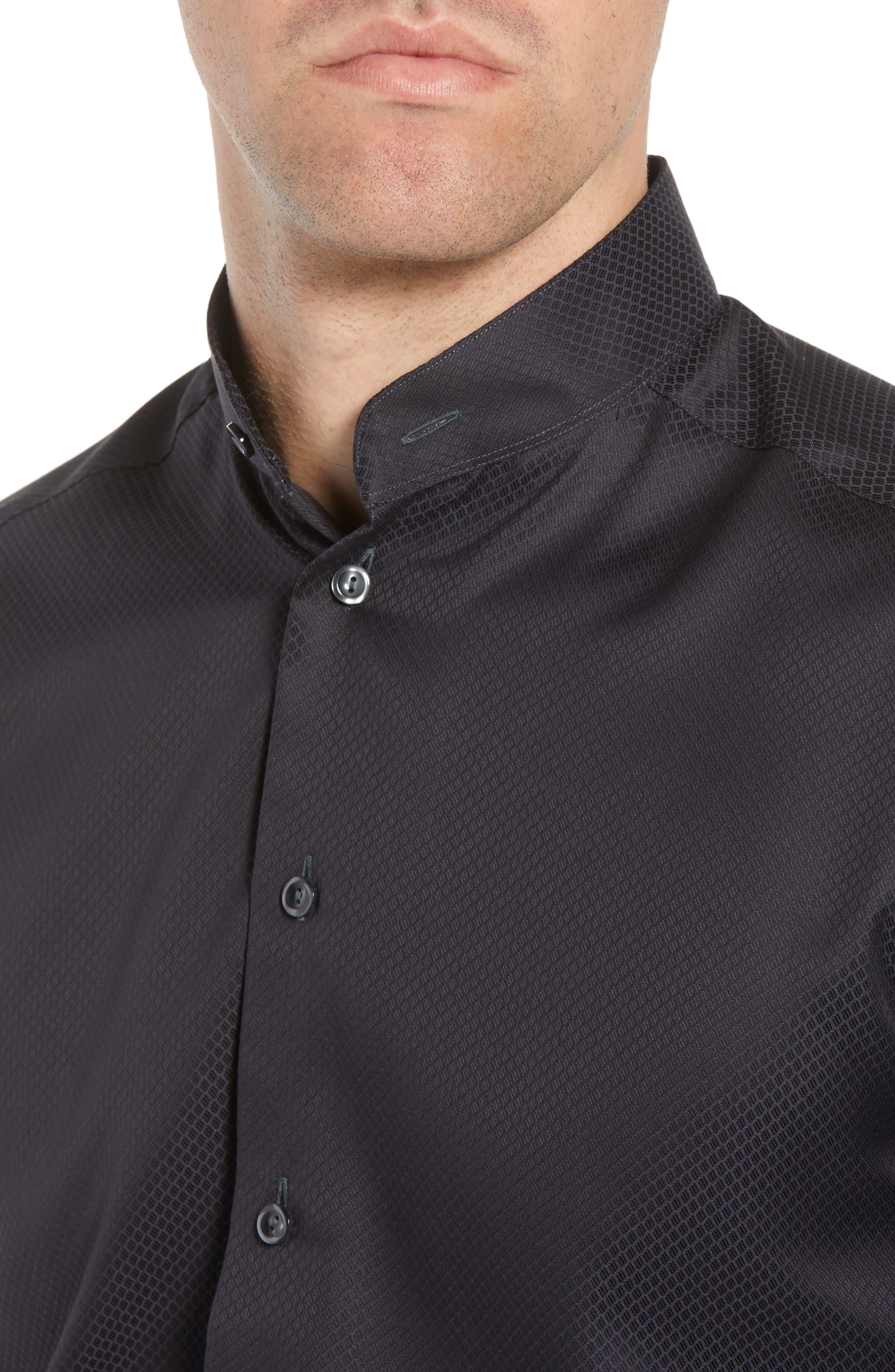 Slim Fit Solid Dress Shirt,                             Alternate thumbnail 2, color,                             Black
