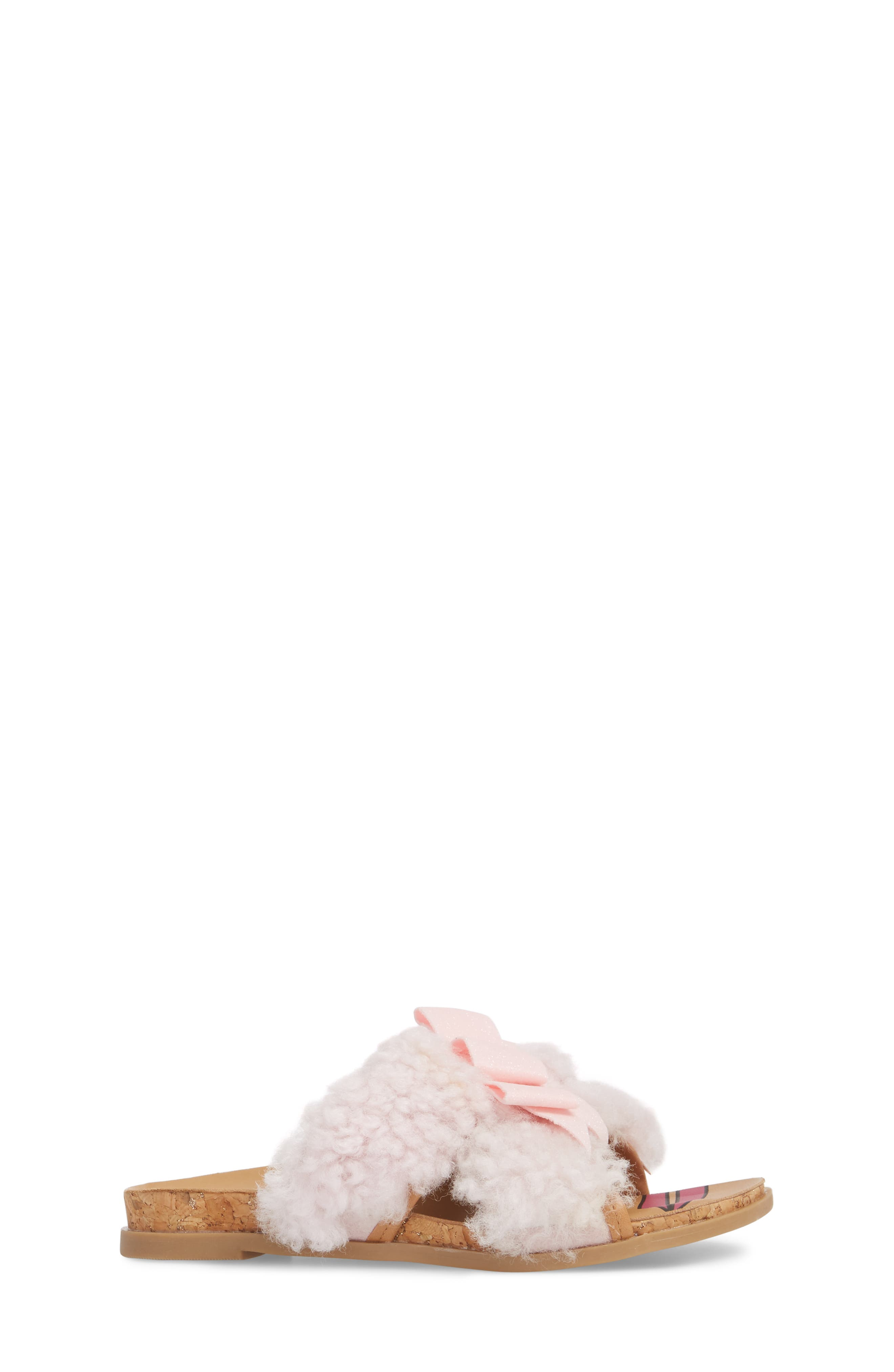 Staceee Genuine Shearling Slide Sandal,                             Alternate thumbnail 3, color,                             Seashell Pink