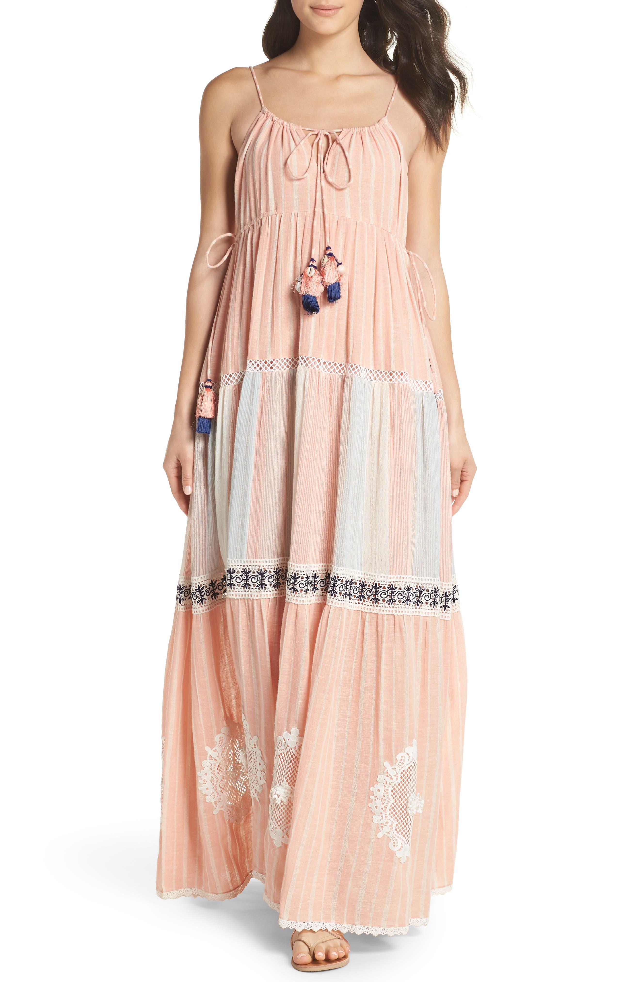 Hemant & Nandita Cover-Up Maxi Dress,                         Main,                         color, Peach