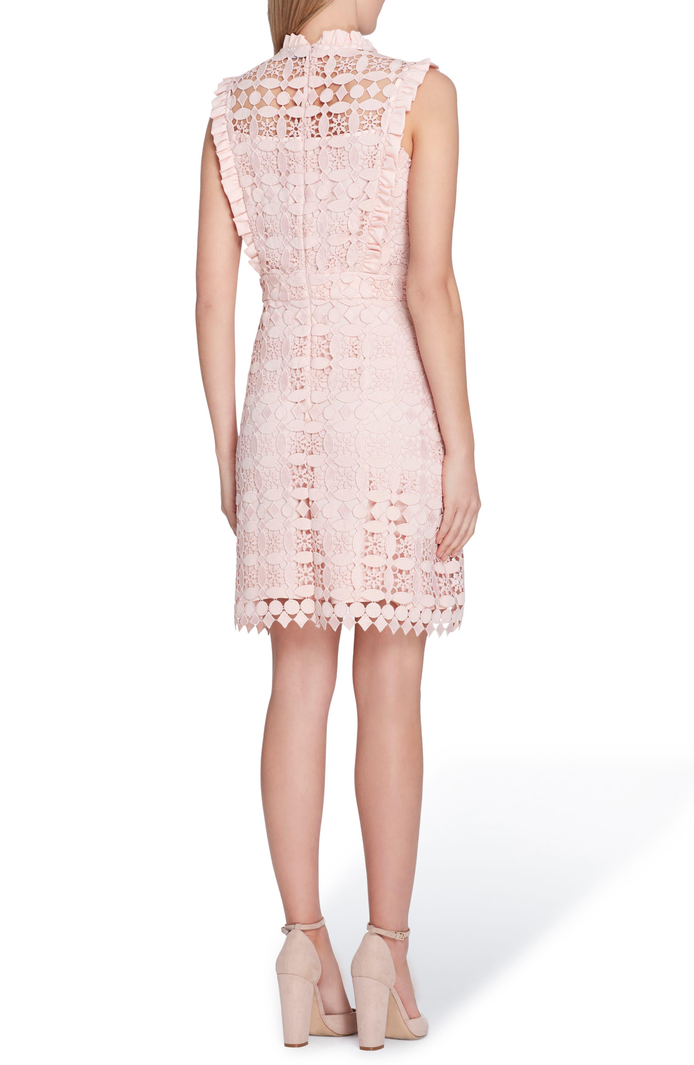 High Neck Lace Sheath Dress,                             Alternate thumbnail 2, color,                             Blush