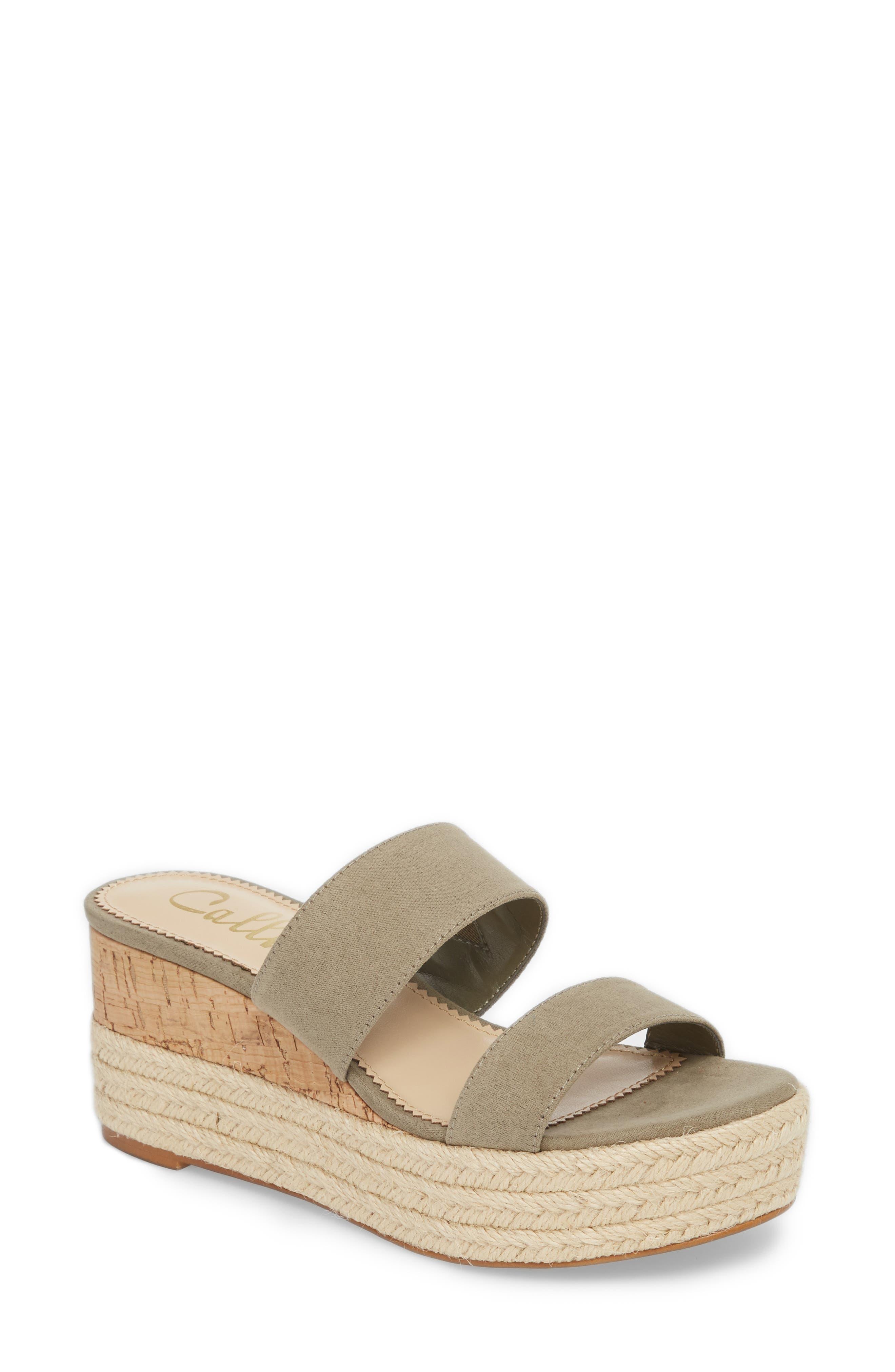Foundation Platform Slide Sandal,                             Main thumbnail 1, color,                             Sage Suede