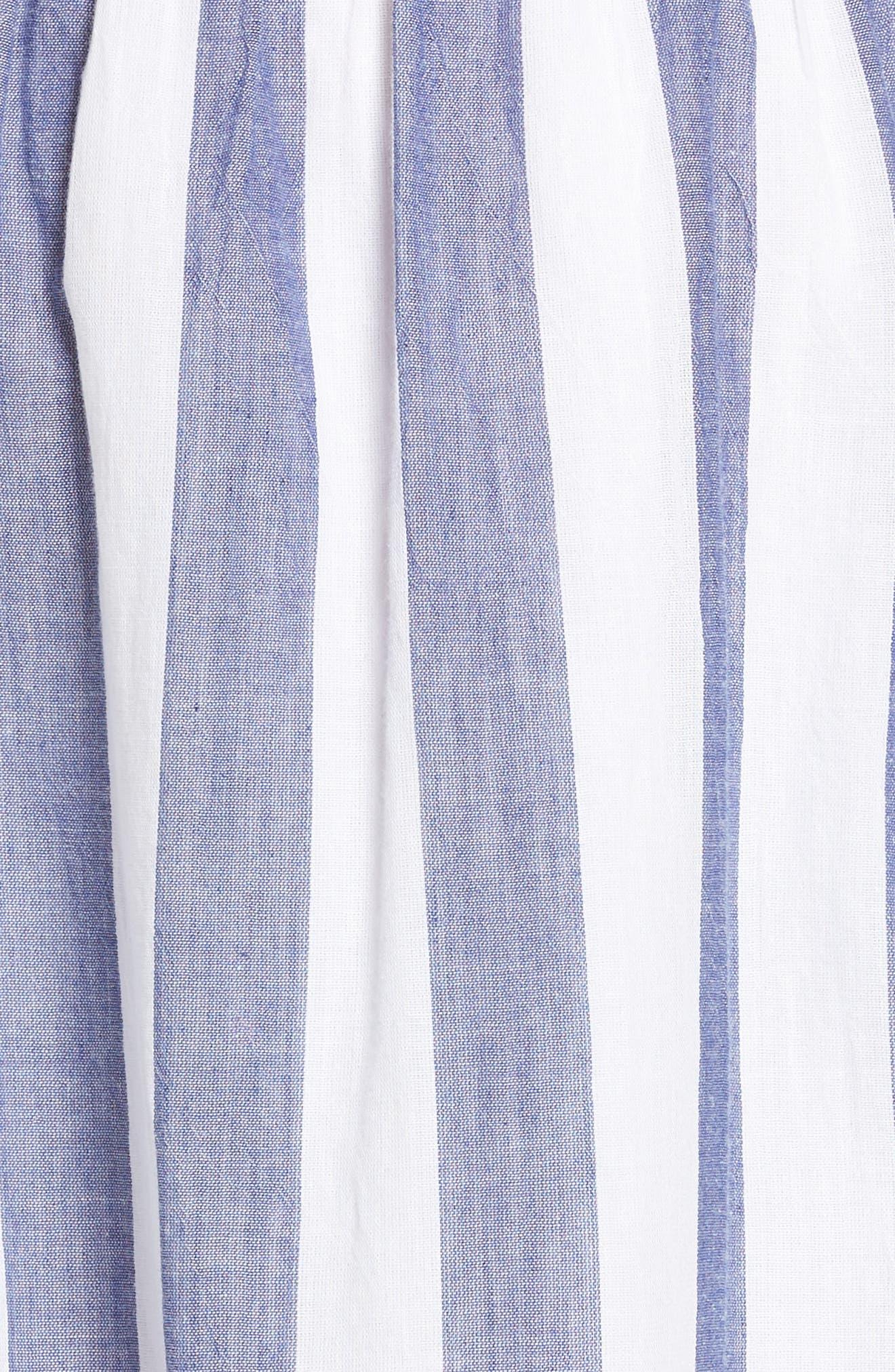 Off the Shoulder Stripe Smocked Dress,                             Alternate thumbnail 6, color,                             Blue Multi