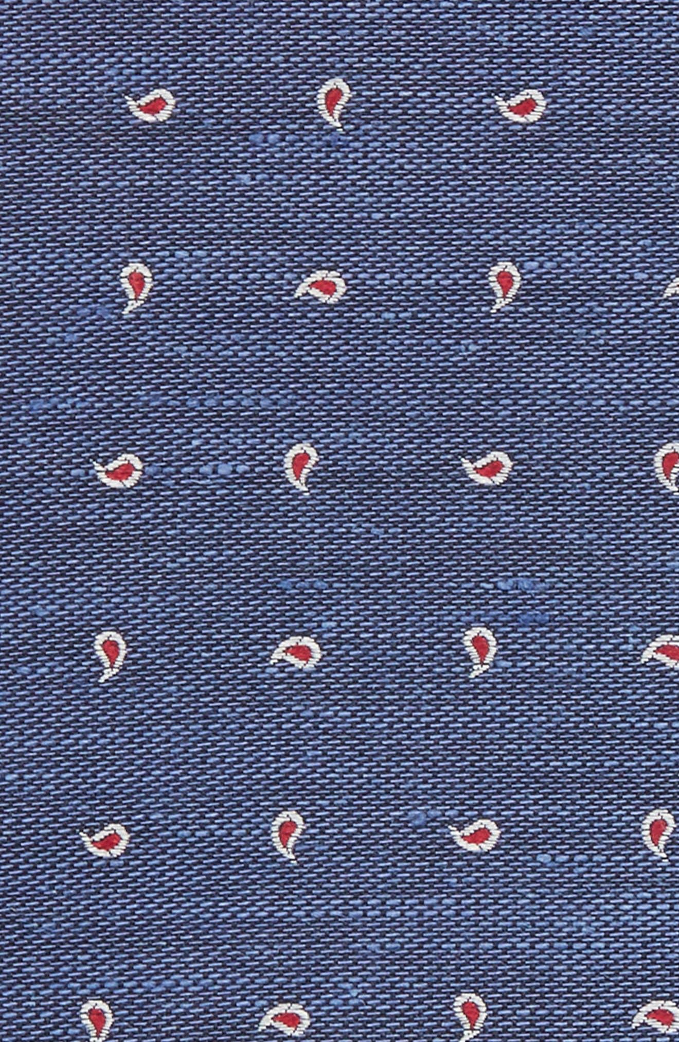 Budding Paisley Silk & Linen Pocket Square,                             Alternate thumbnail 3, color,                             Blue