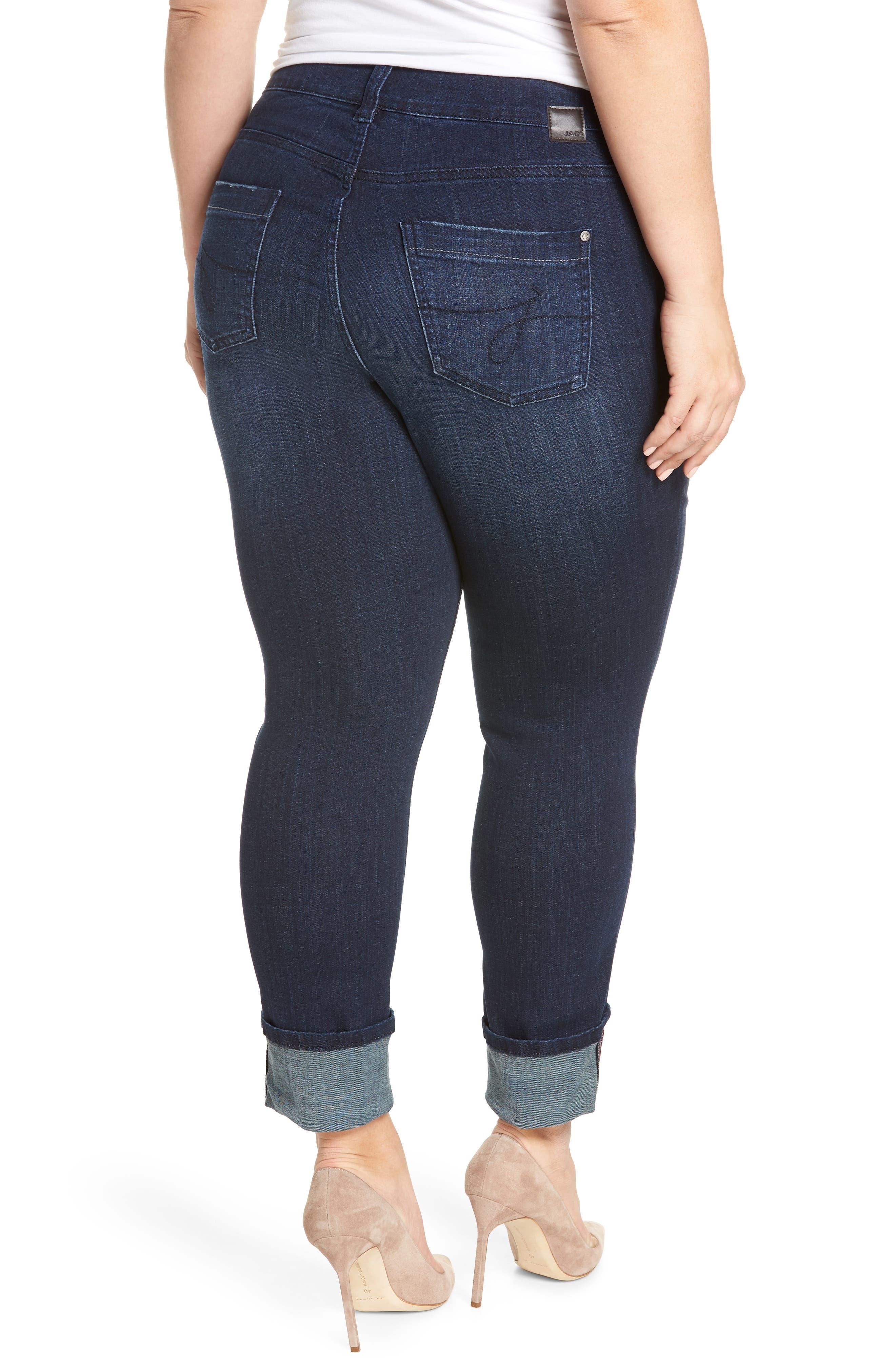 Maddie Cuff Skinny Jeans,                             Alternate thumbnail 2, color,                             Dark Indigo