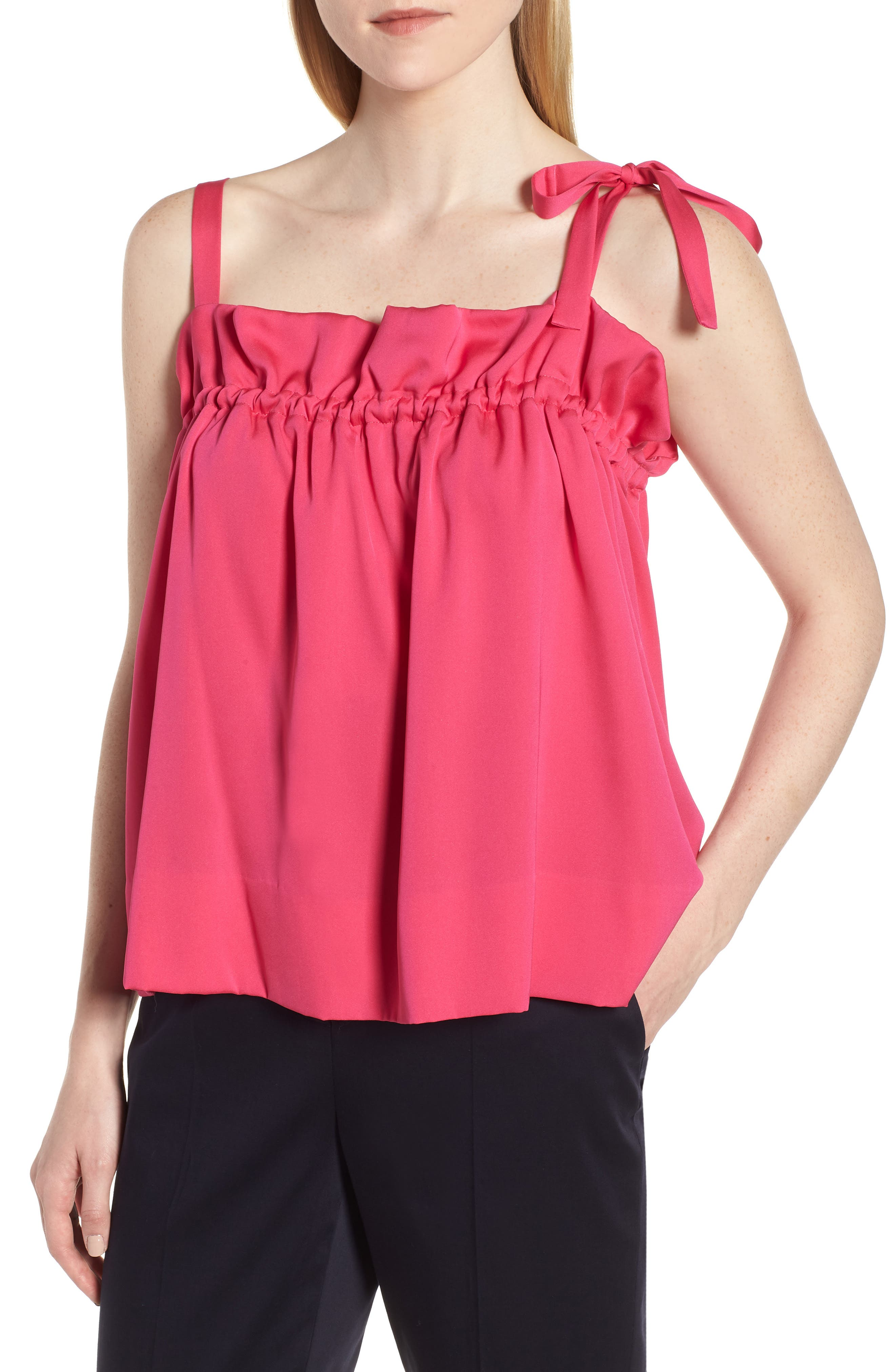 Tie Strap Stretch Silk Camisole,                         Main,                         color, Pink Beetroot