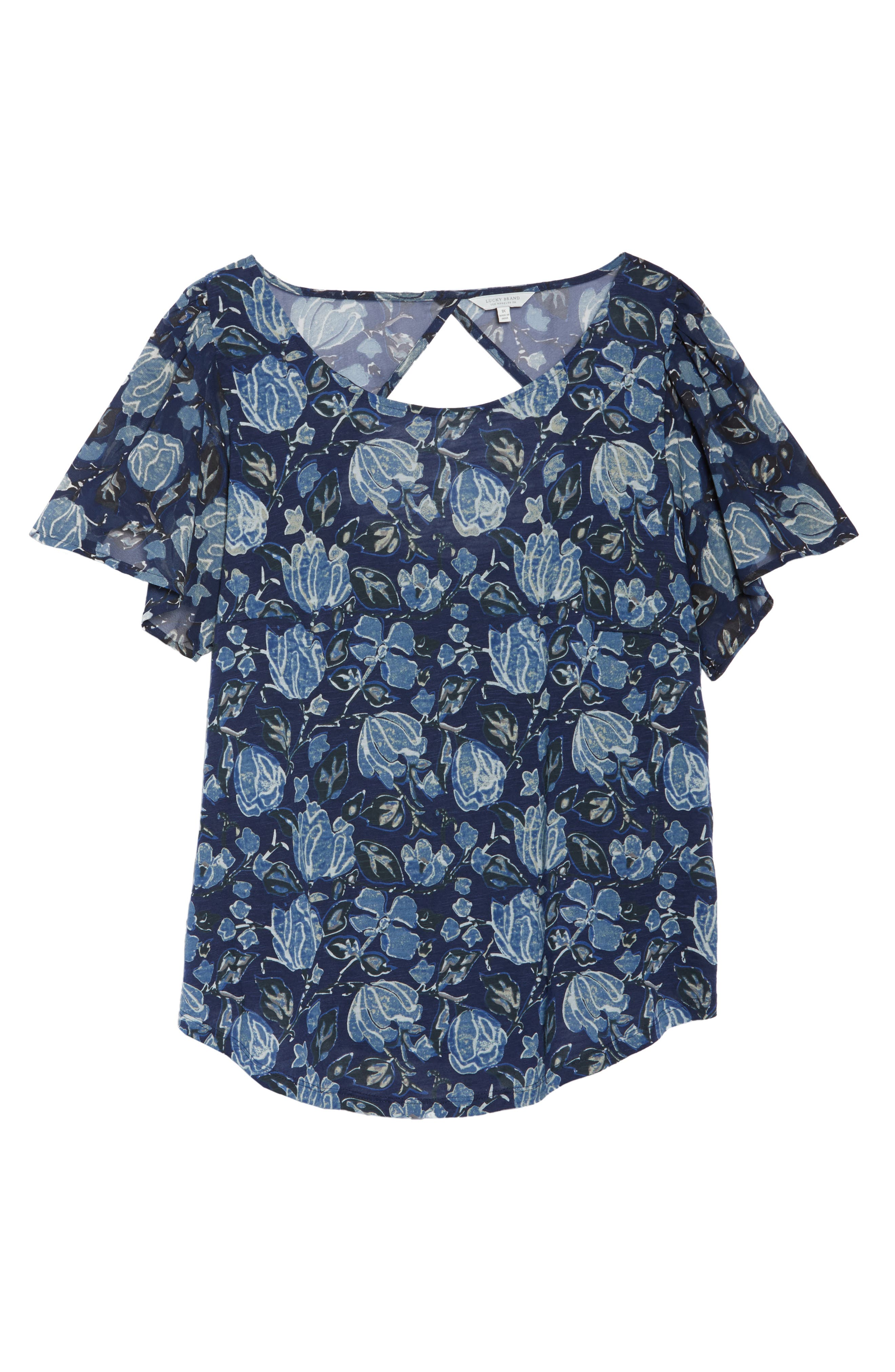 Floral Back Cutout Top,                             Alternate thumbnail 7, color,                             Navy Multi