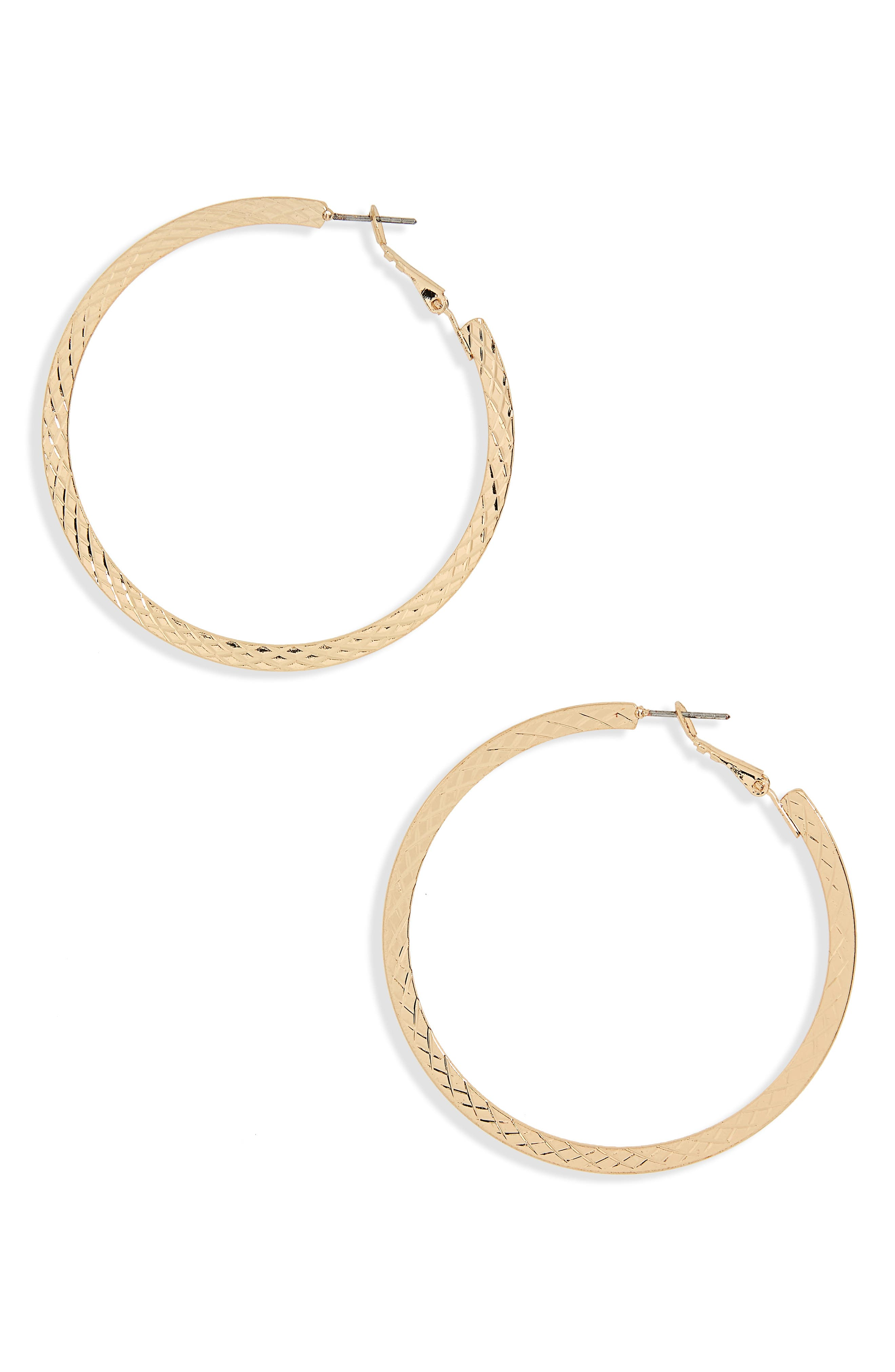 Etched Flat Hoop Earrings,                             Main thumbnail 1, color,                             Gold