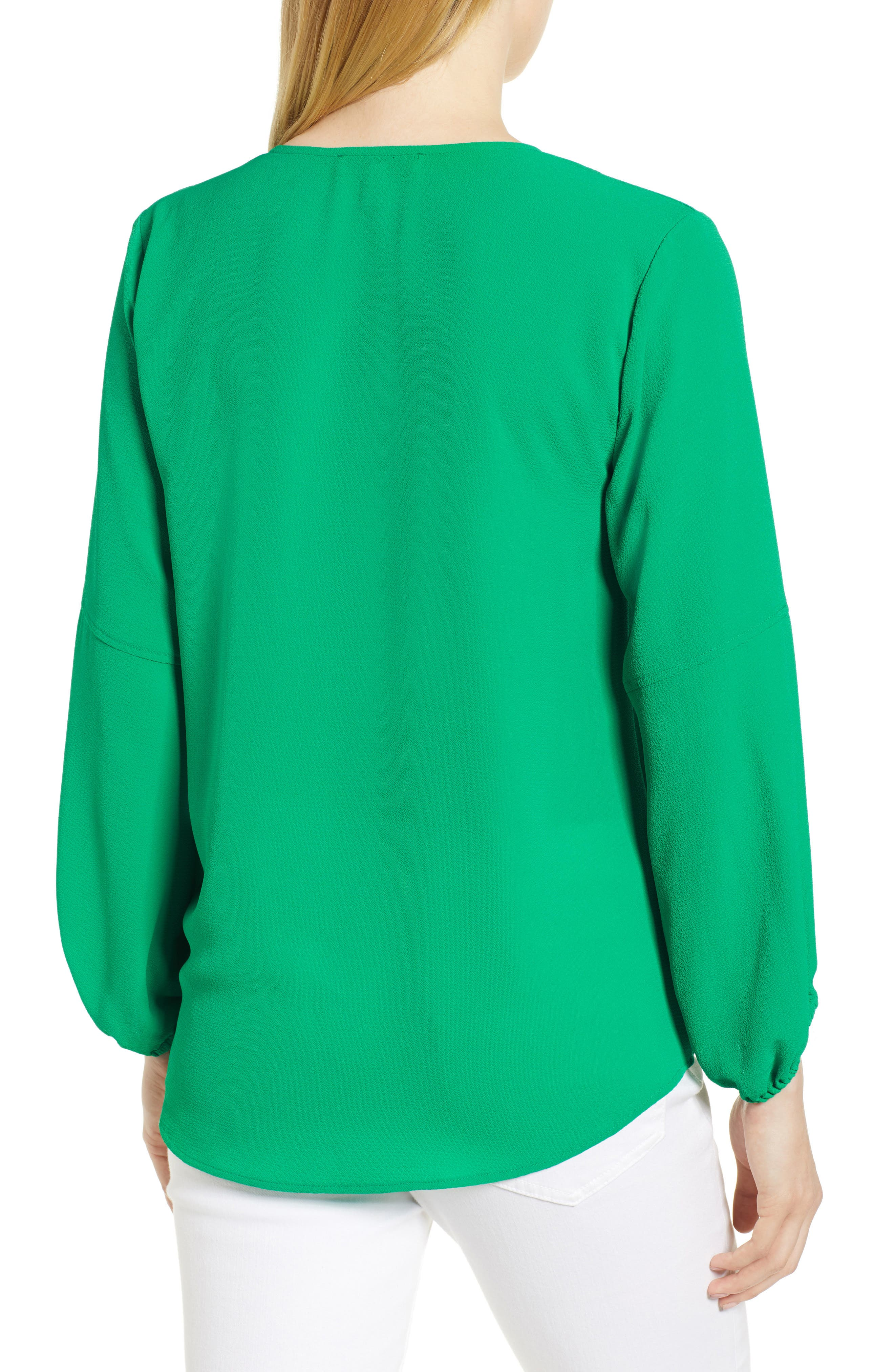 Tie Neck Crepe Blouse,                             Alternate thumbnail 2, color,                             Gallery Green