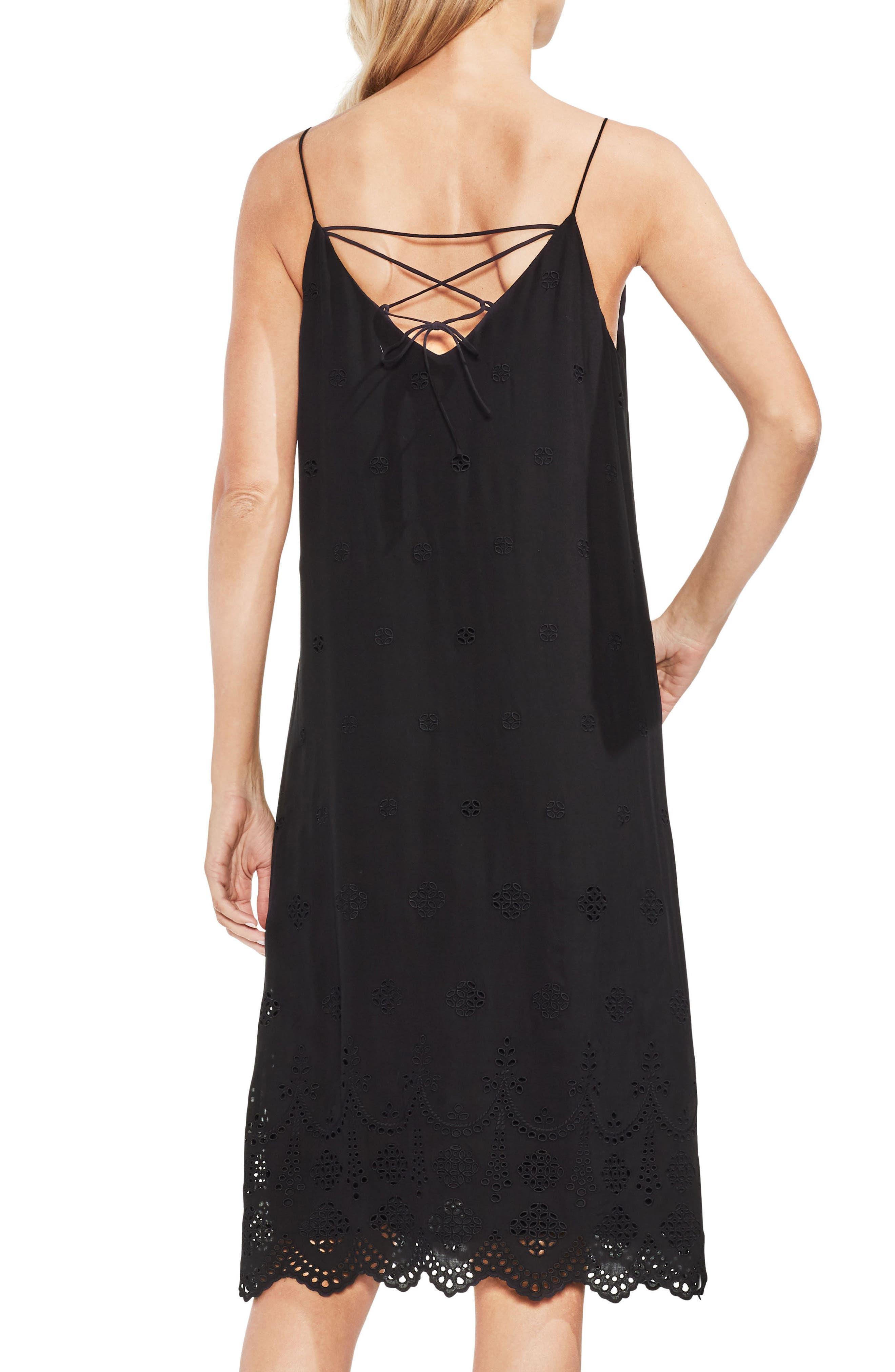 Eyelet Scallop Dress,                             Alternate thumbnail 2, color,                             Rich Black