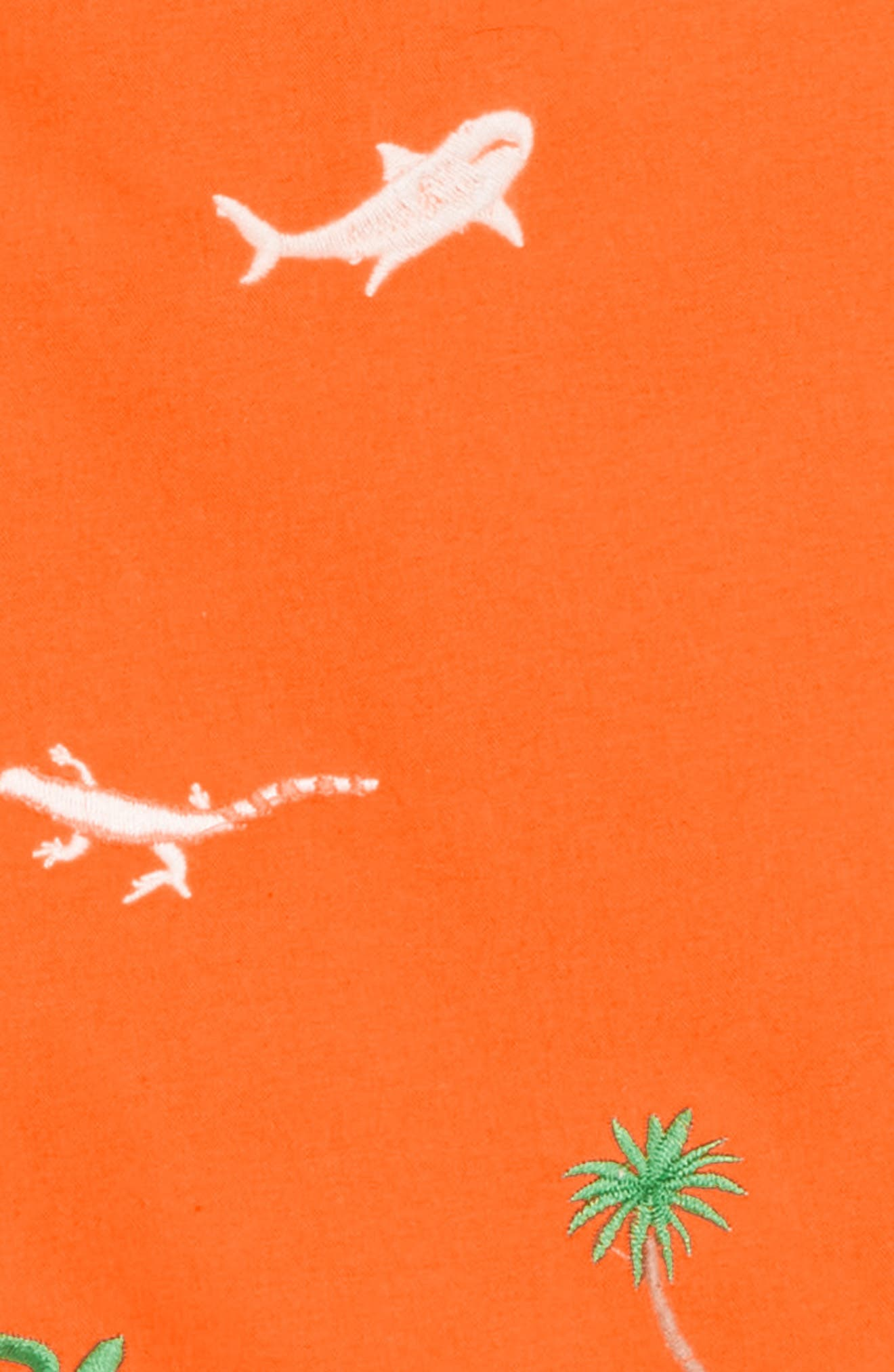 Embroidered Swim Trunks,                             Alternate thumbnail 2, color,                             Acid Orange Embroidery