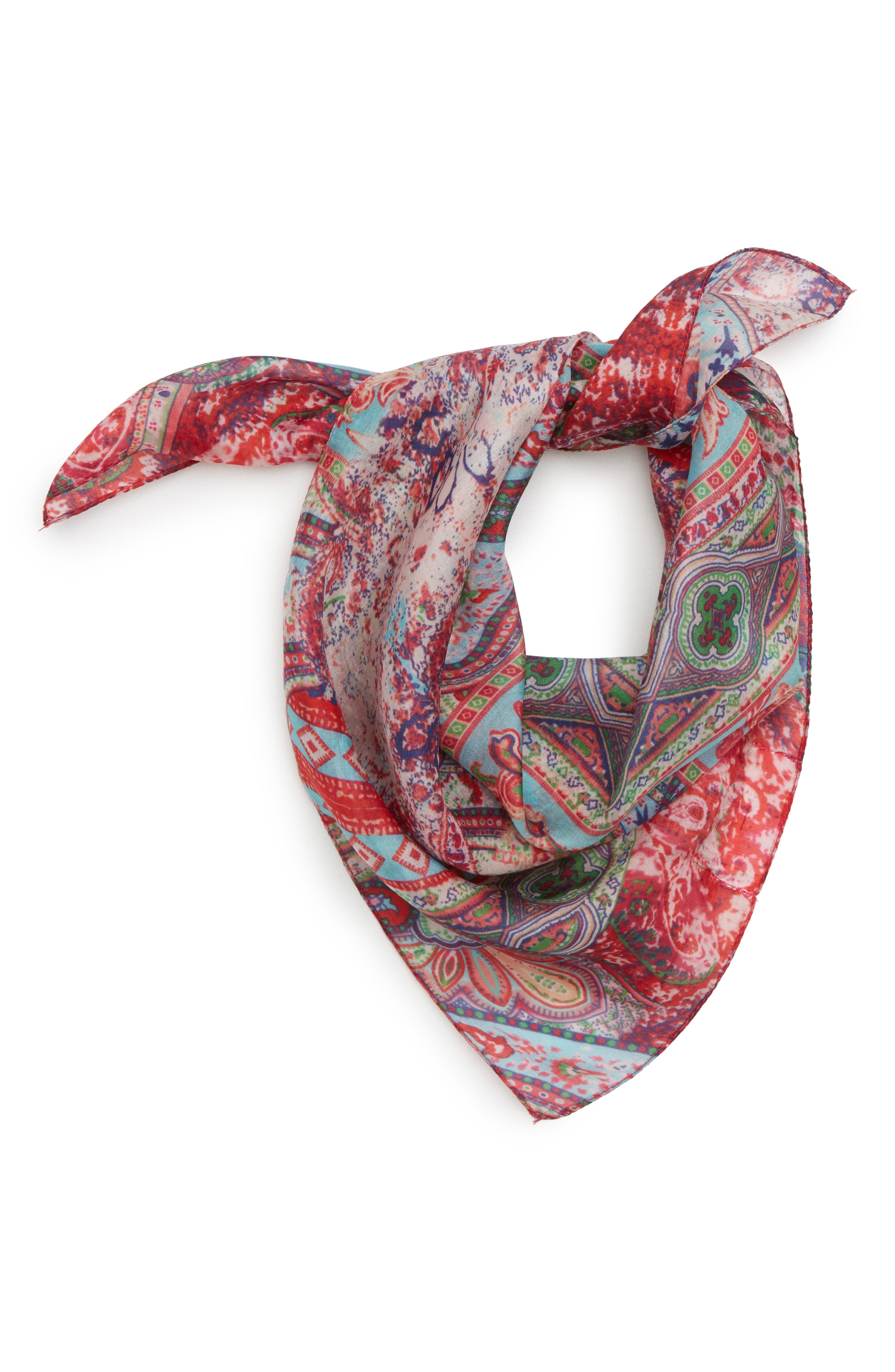 Print Silk Neckerchief,                             Main thumbnail 1, color,                             Natural