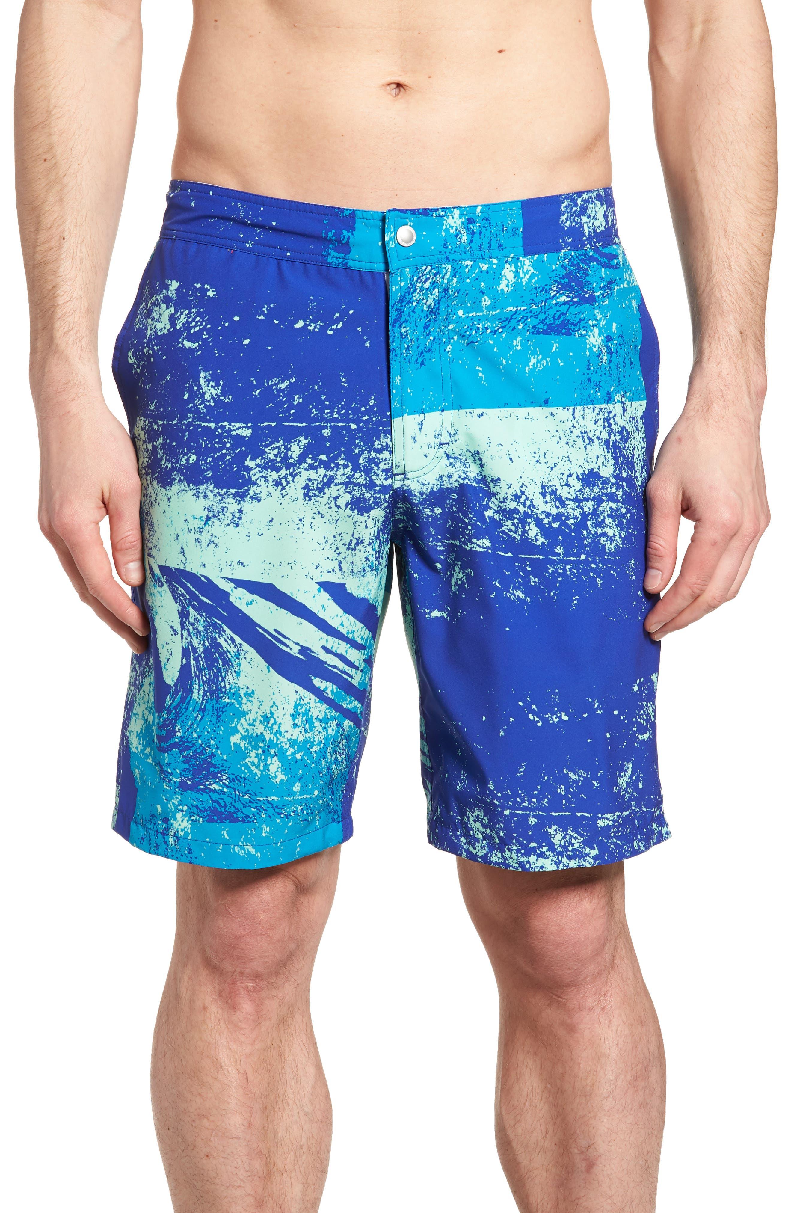 Banzai 9-Inch Swim Trunks,                         Main,                         color, Screen Print Wave