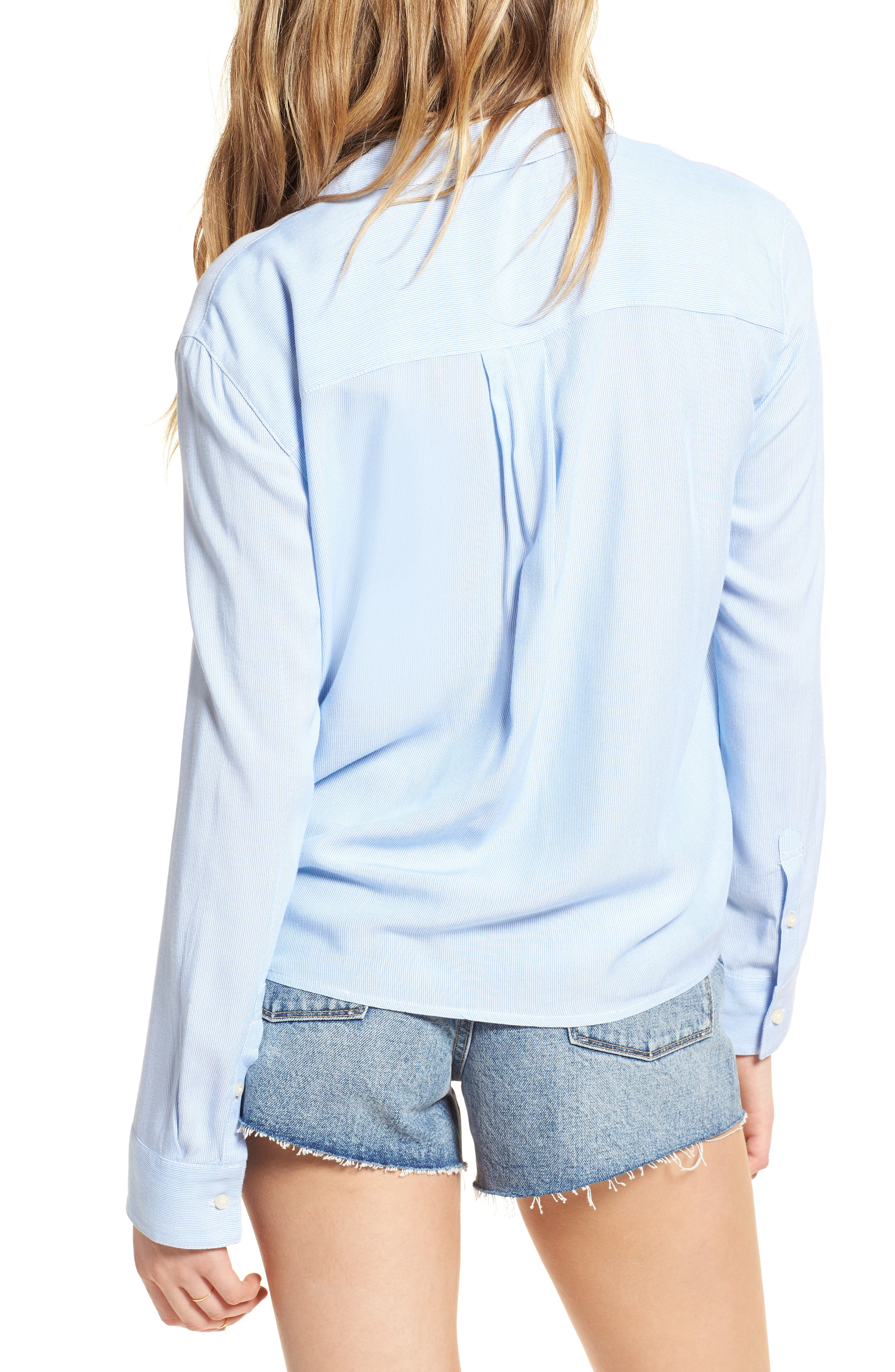 Tie Front Shirt,                             Alternate thumbnail 2, color,                             Blue Lake Micro Stripe