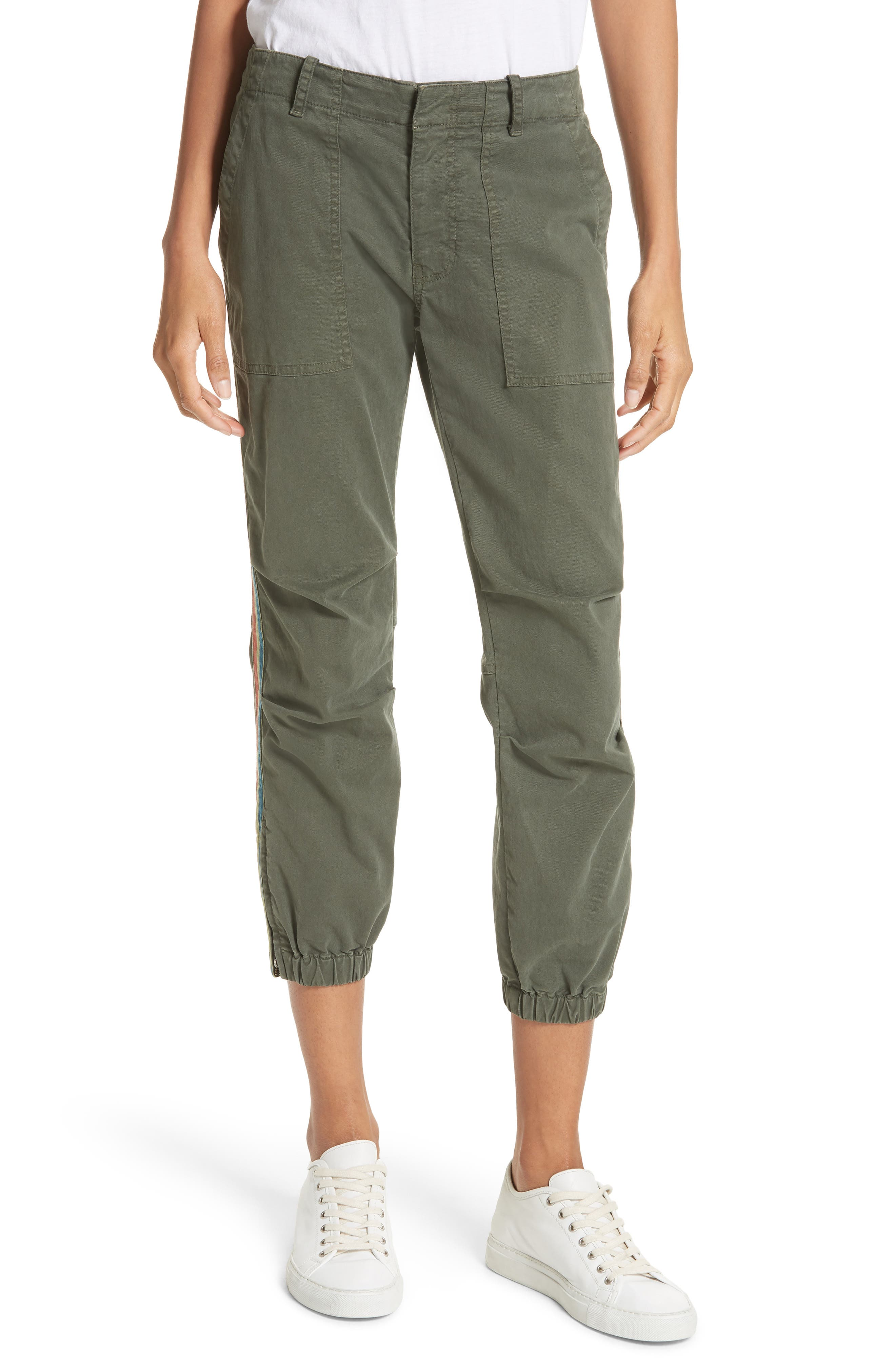 French Crop Military Pants,                             Main thumbnail 1, color,                             Loden