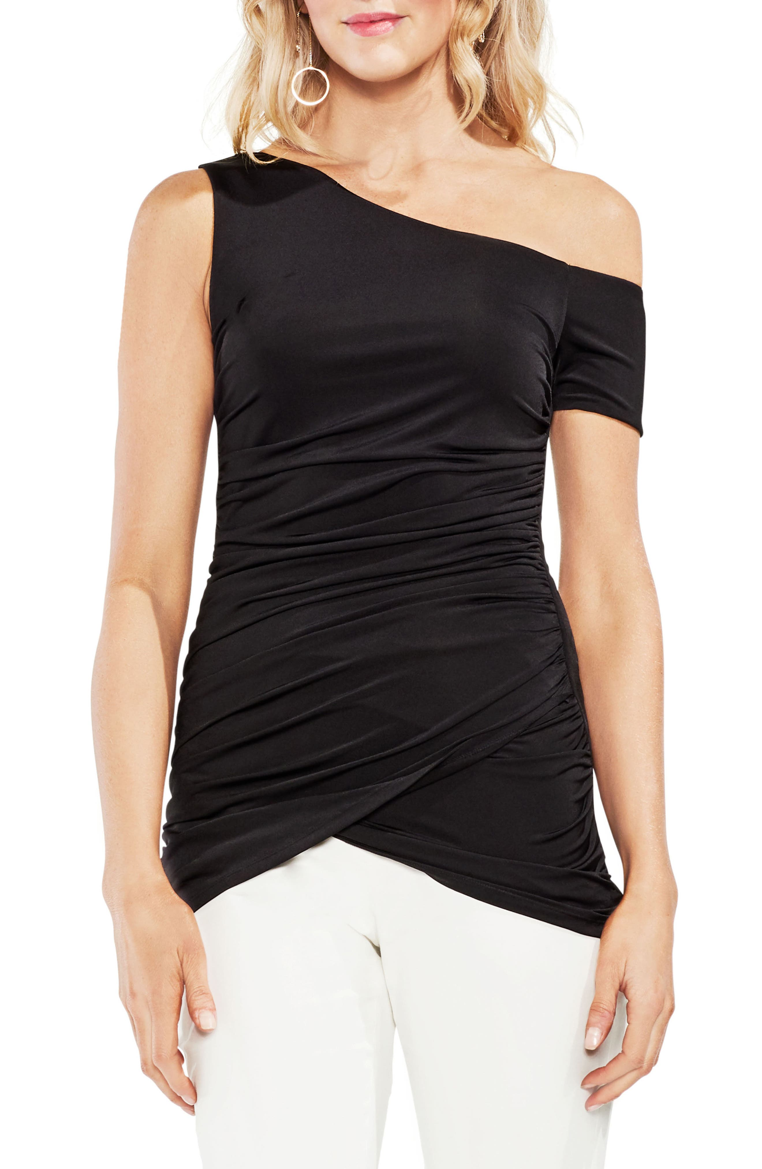 One-Shoulder Ruched Liquid Knit Top,                             Main thumbnail 1, color,                             060-Rich Black